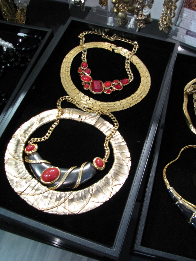 A selection of vintage statement necklaces at Sasha Mask Vintage Pop Up at FashionElles