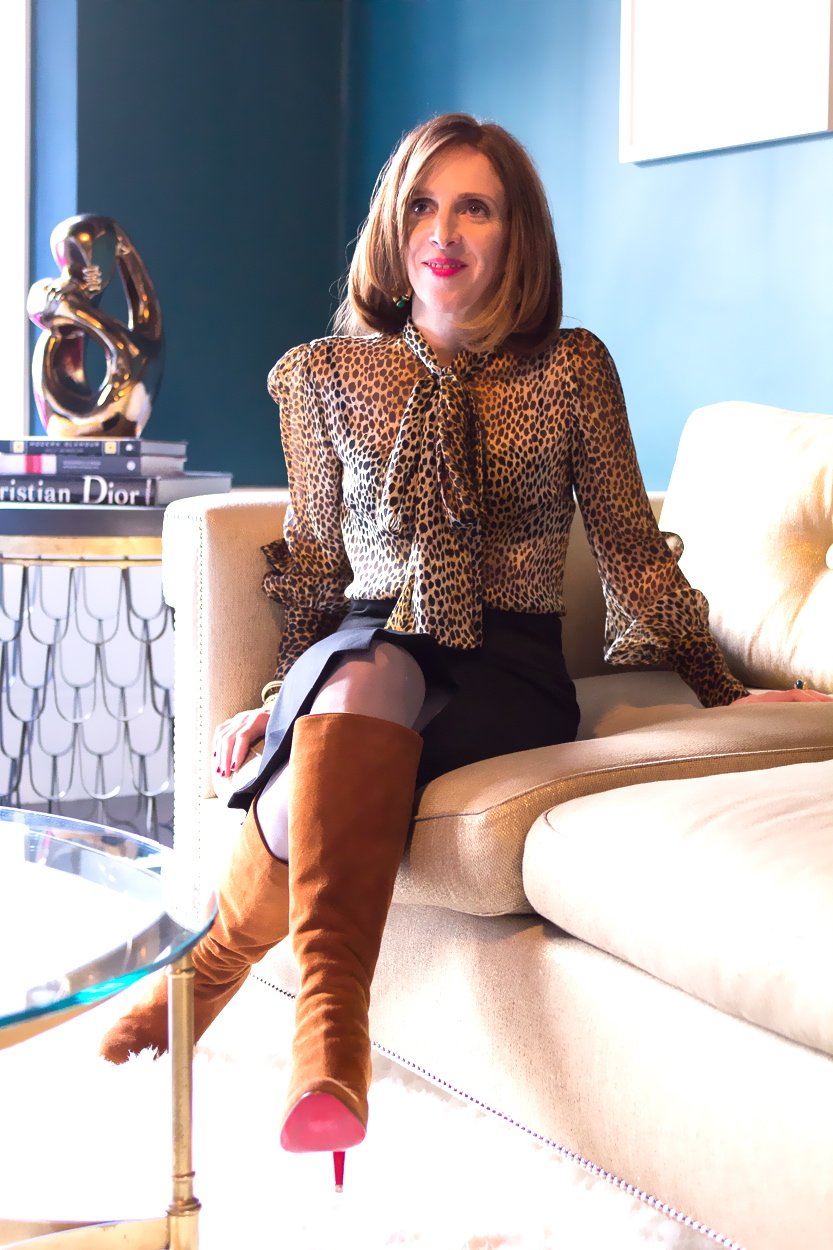 Leopard print blouse pencil skirt Styled by Sasha Maks