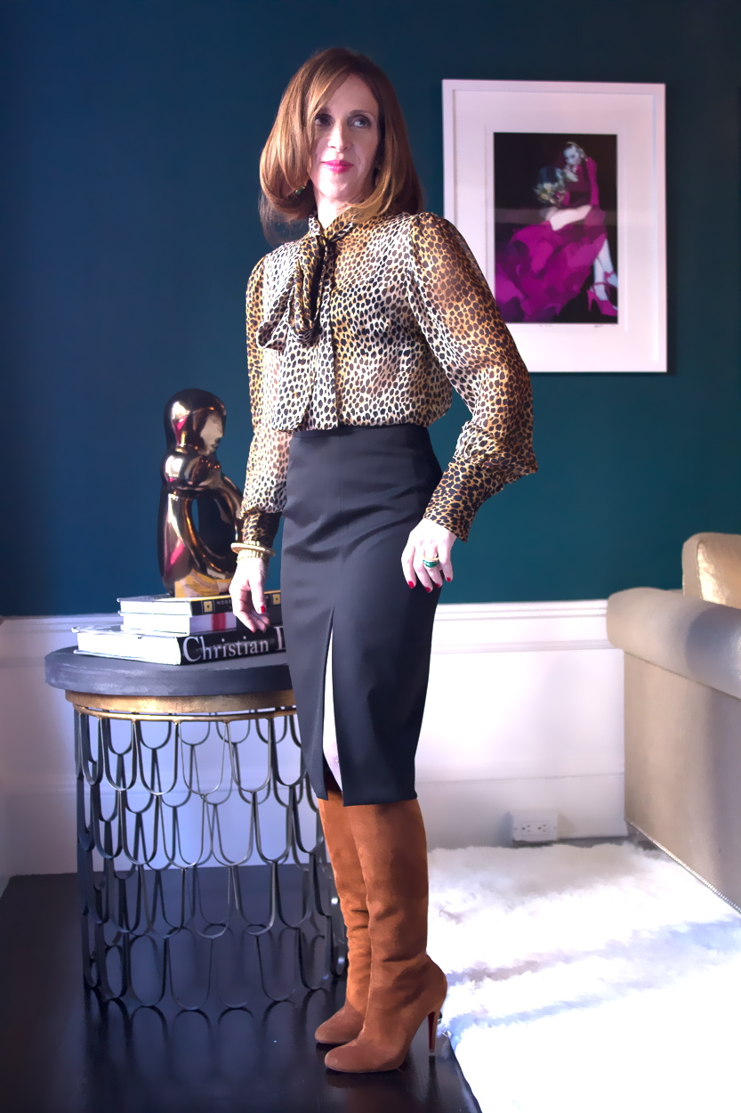 Leopard print blouse pencil skirt