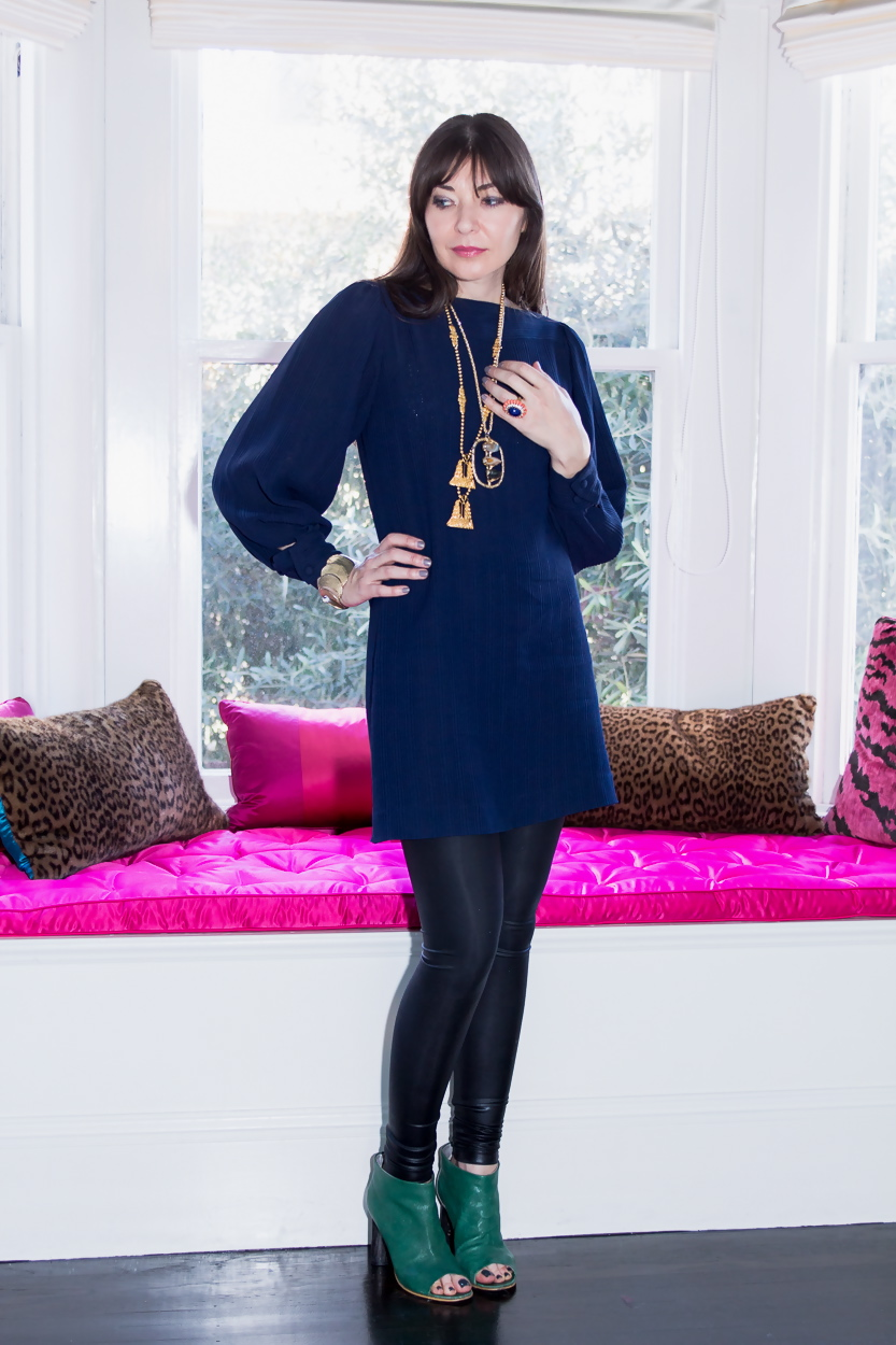 Navy dress and faux leather leggings and Sasha Maks Vintage necklaces