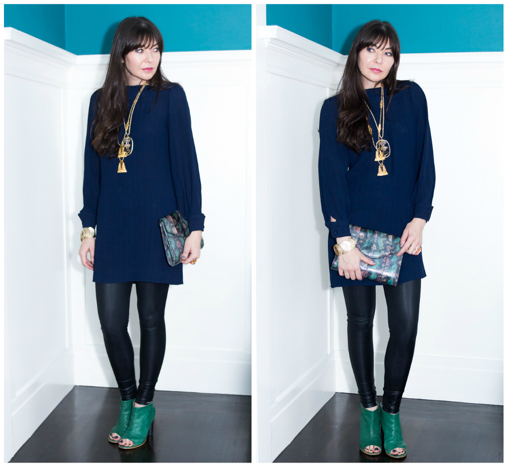 Navy dress and faux leather leggings