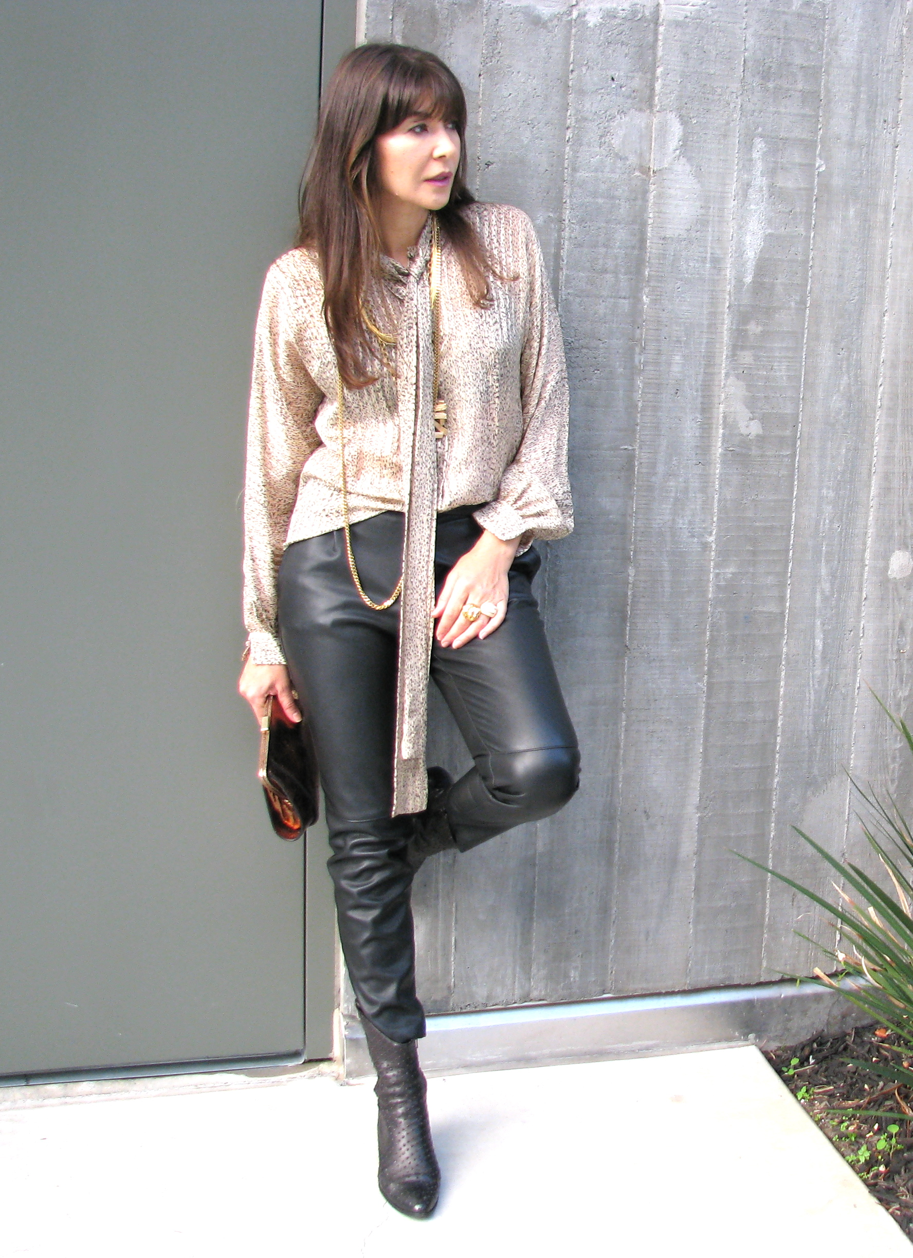 Tie blouse and leather pants