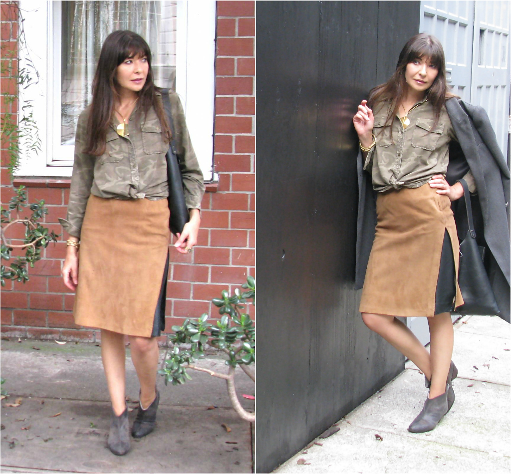 Camo shrit and sued skirt
