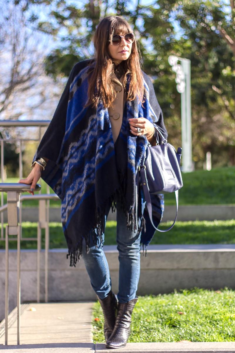 Poncho over coat