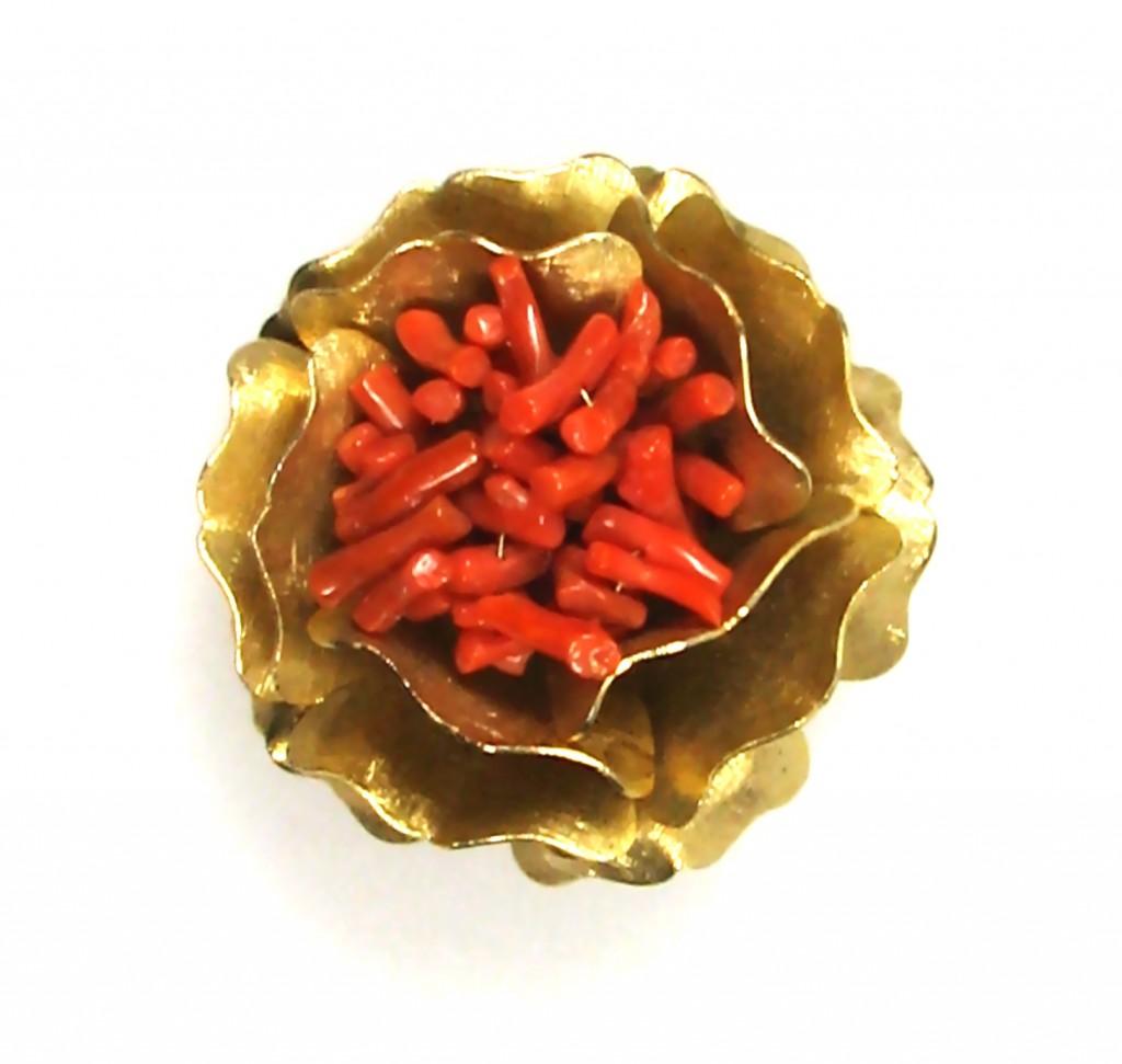 Sasha Maks  Vintage Coral Flower Brooch