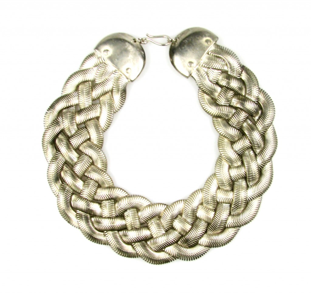 Silver-Tone Braided Necklace