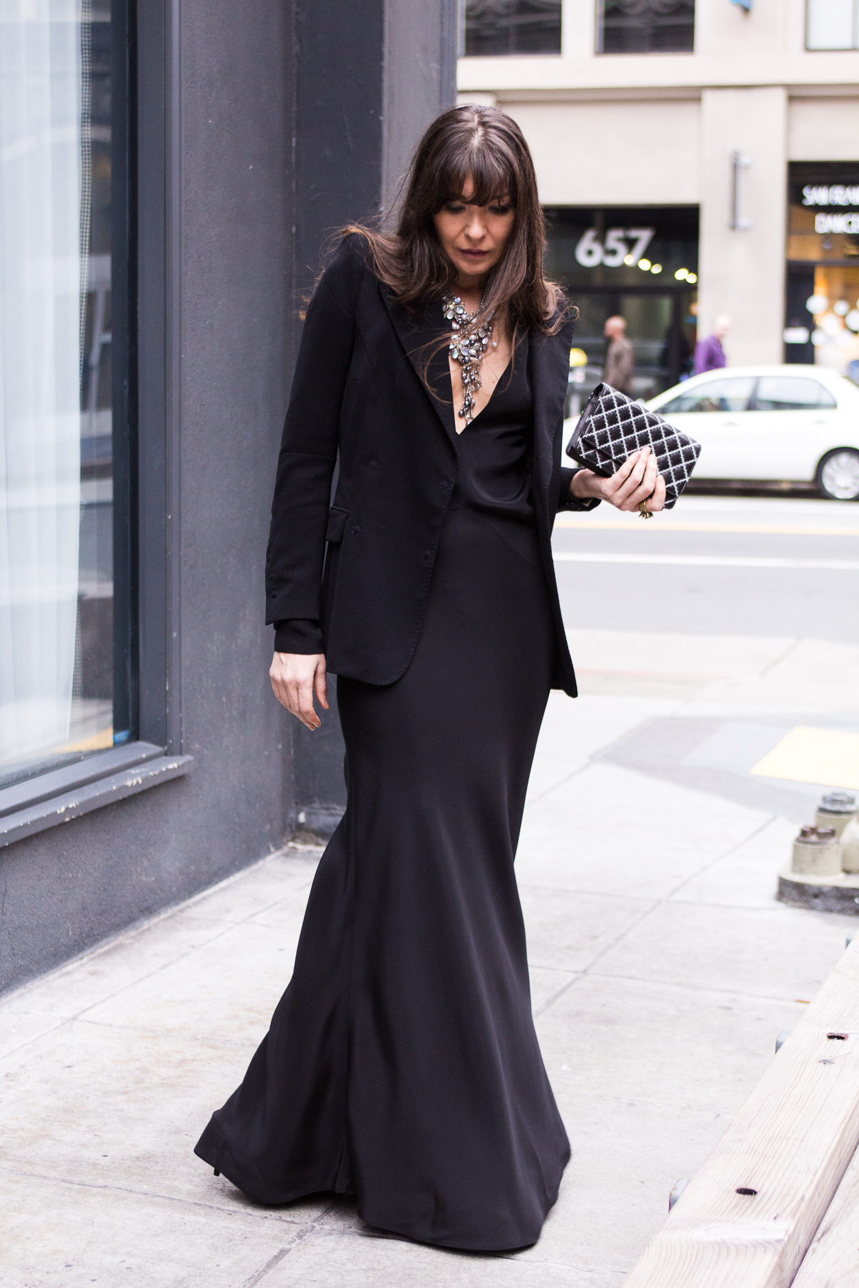 Black maxi dres for Valentine's Day.