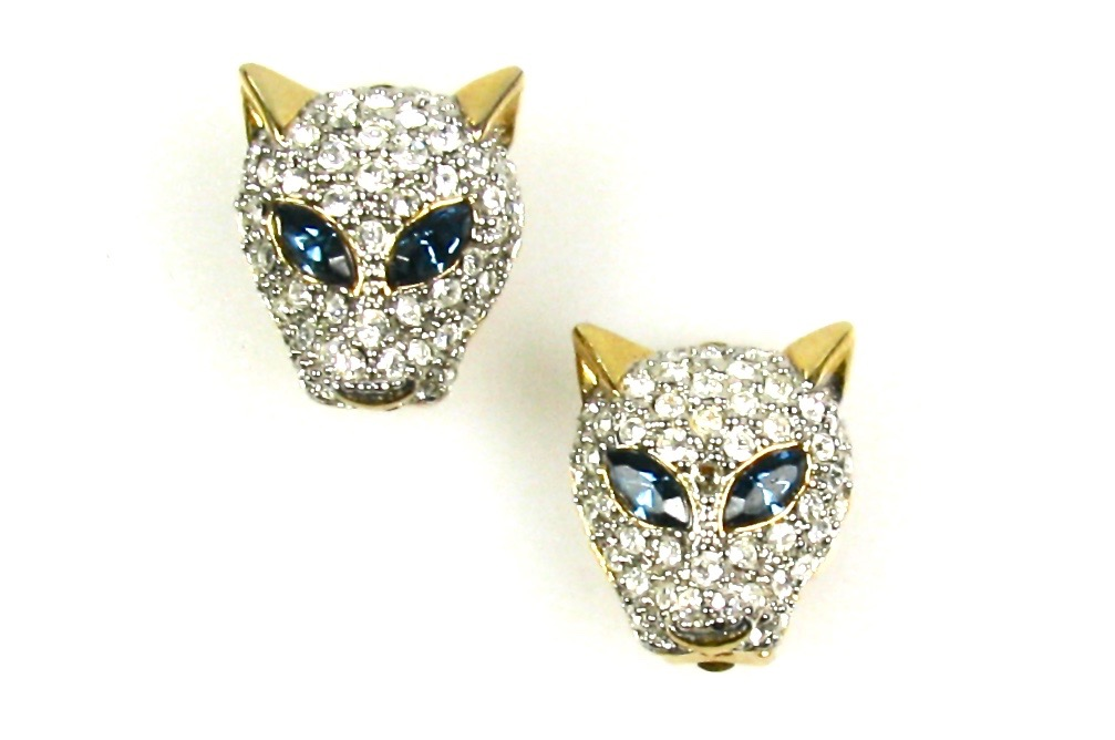 Vintage rhinestone panther earrings