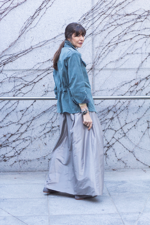 Vintage denim and taffeta skirt.