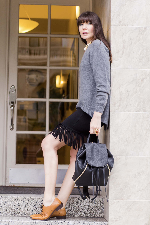 Fringe skirt and puffer.