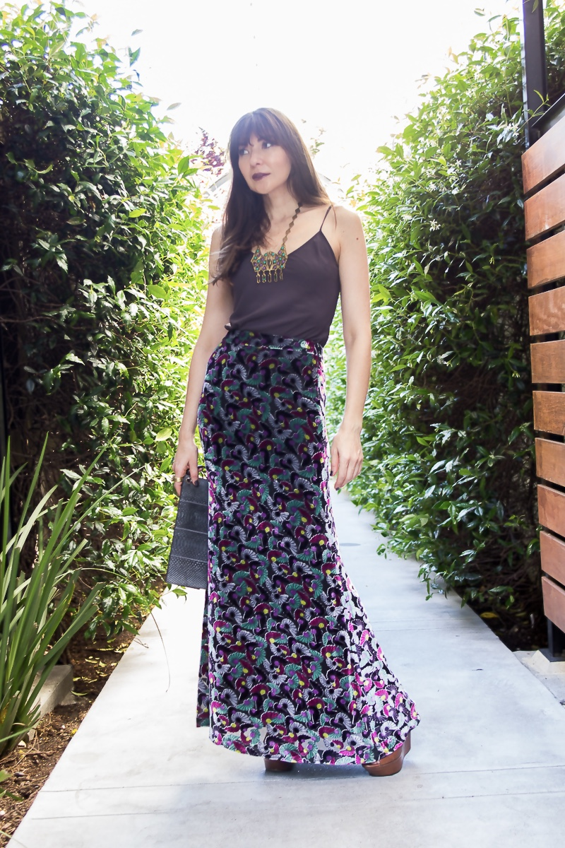 Velvet maxi skirt and Sasha Maks Vintage boho necklace.