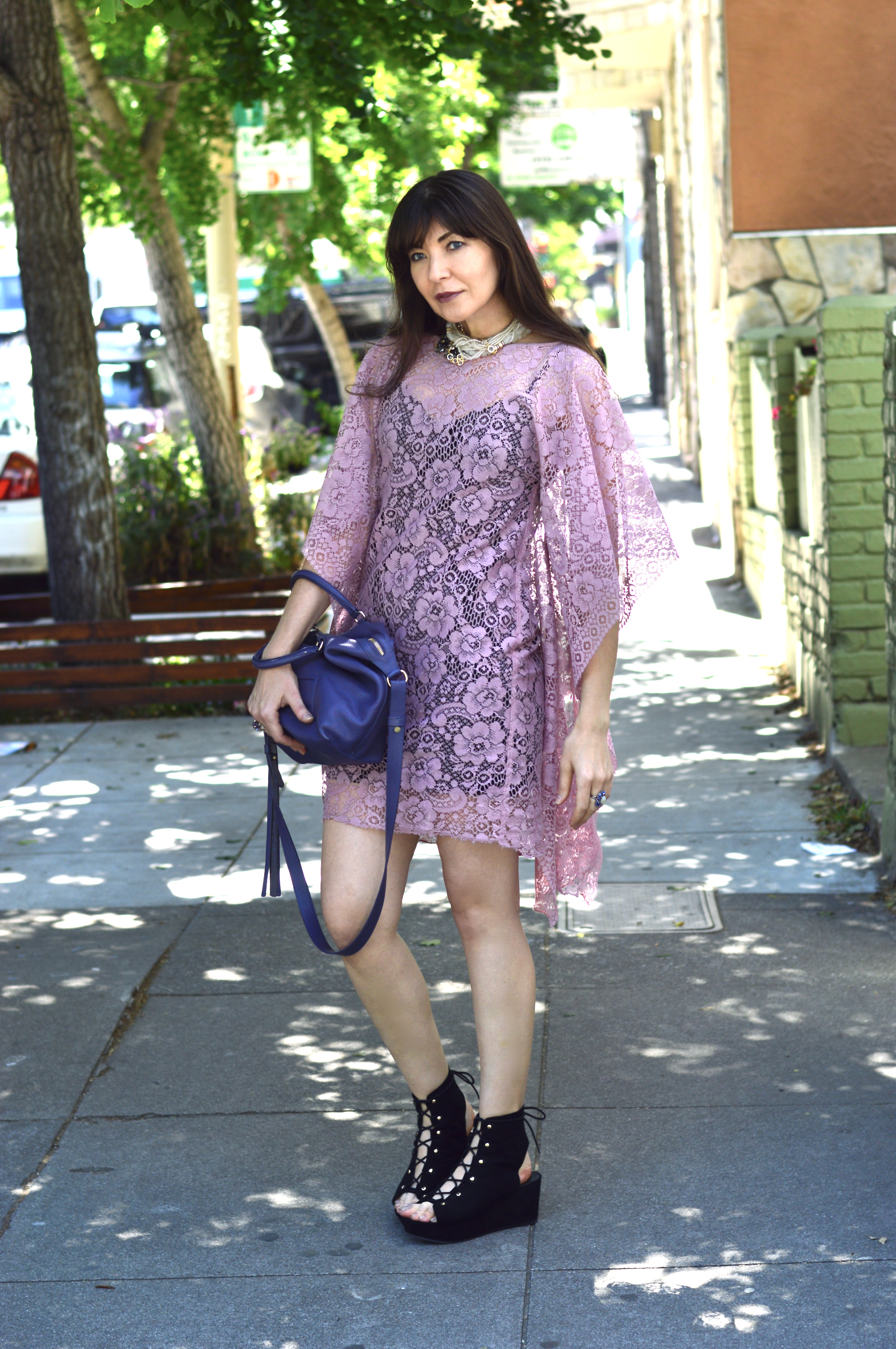 Lace dress and Sasha Maks Vintage rhinestone jewelry.