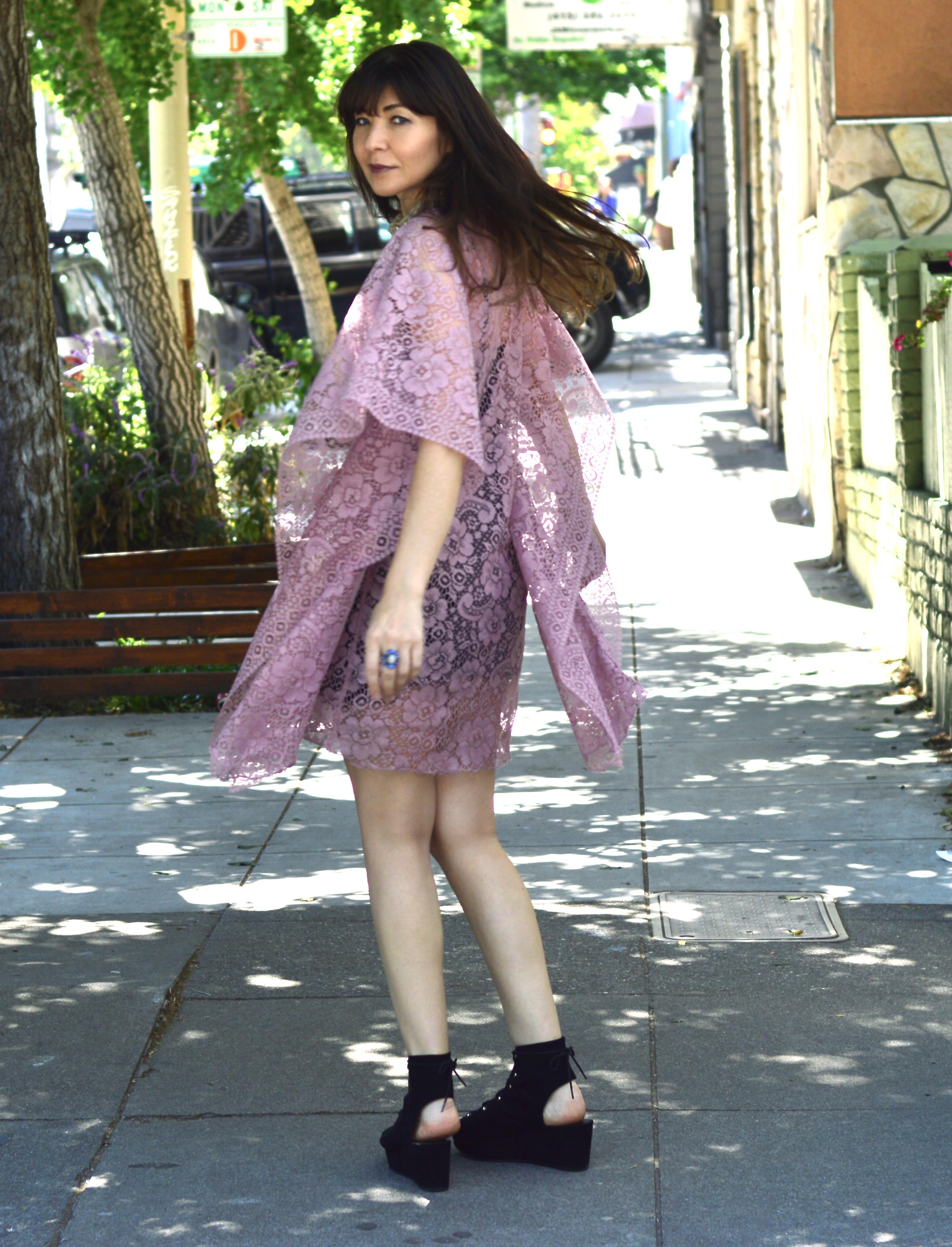 Lace dress and Sasha Maks Vintage rhinestone jewelry.
