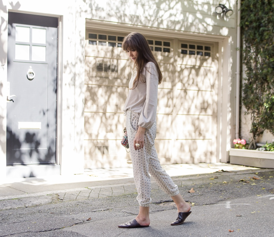 Luxe tee and drawsting pants.