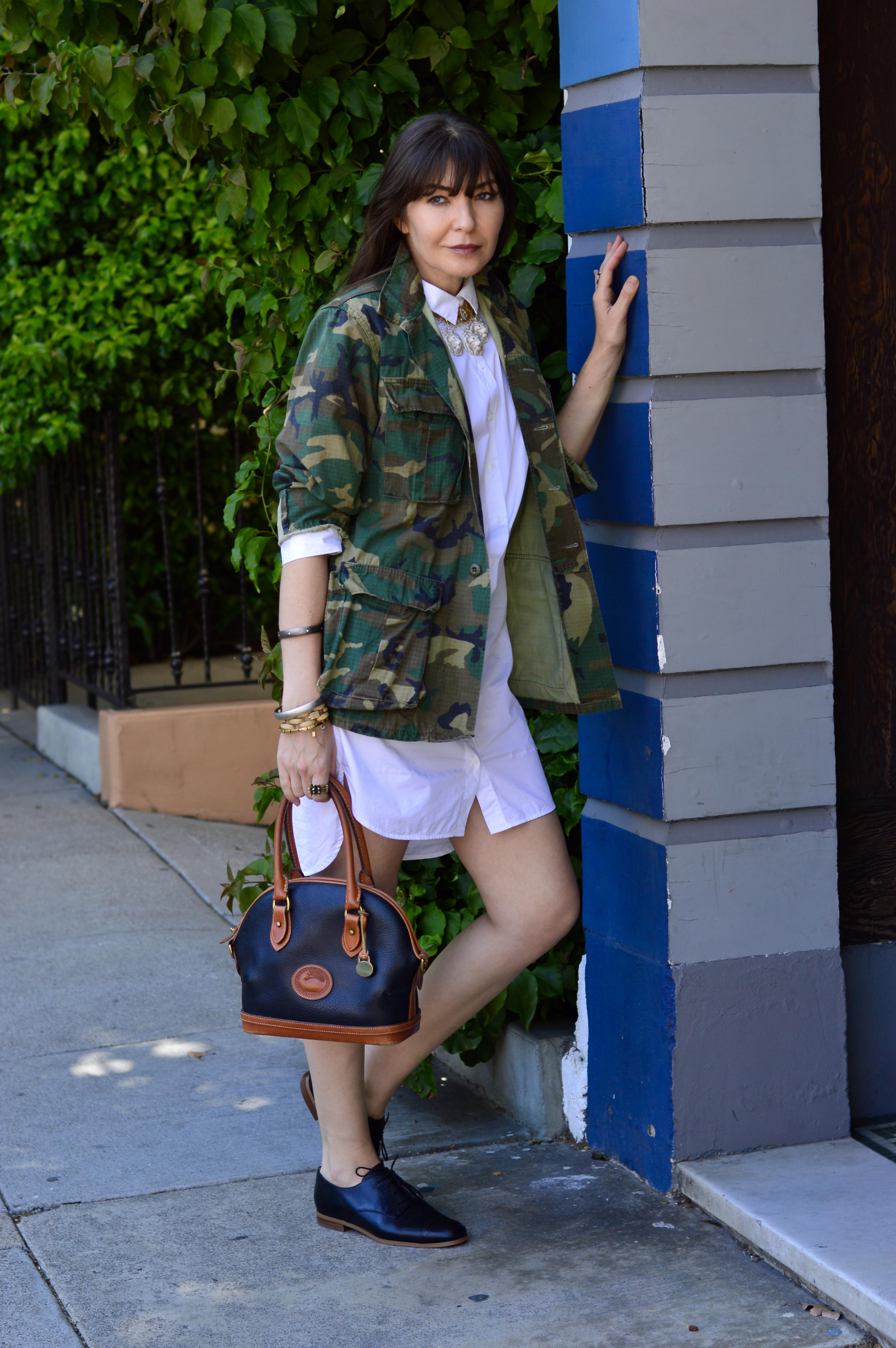 Vintage cam jacket and shirt dress.
