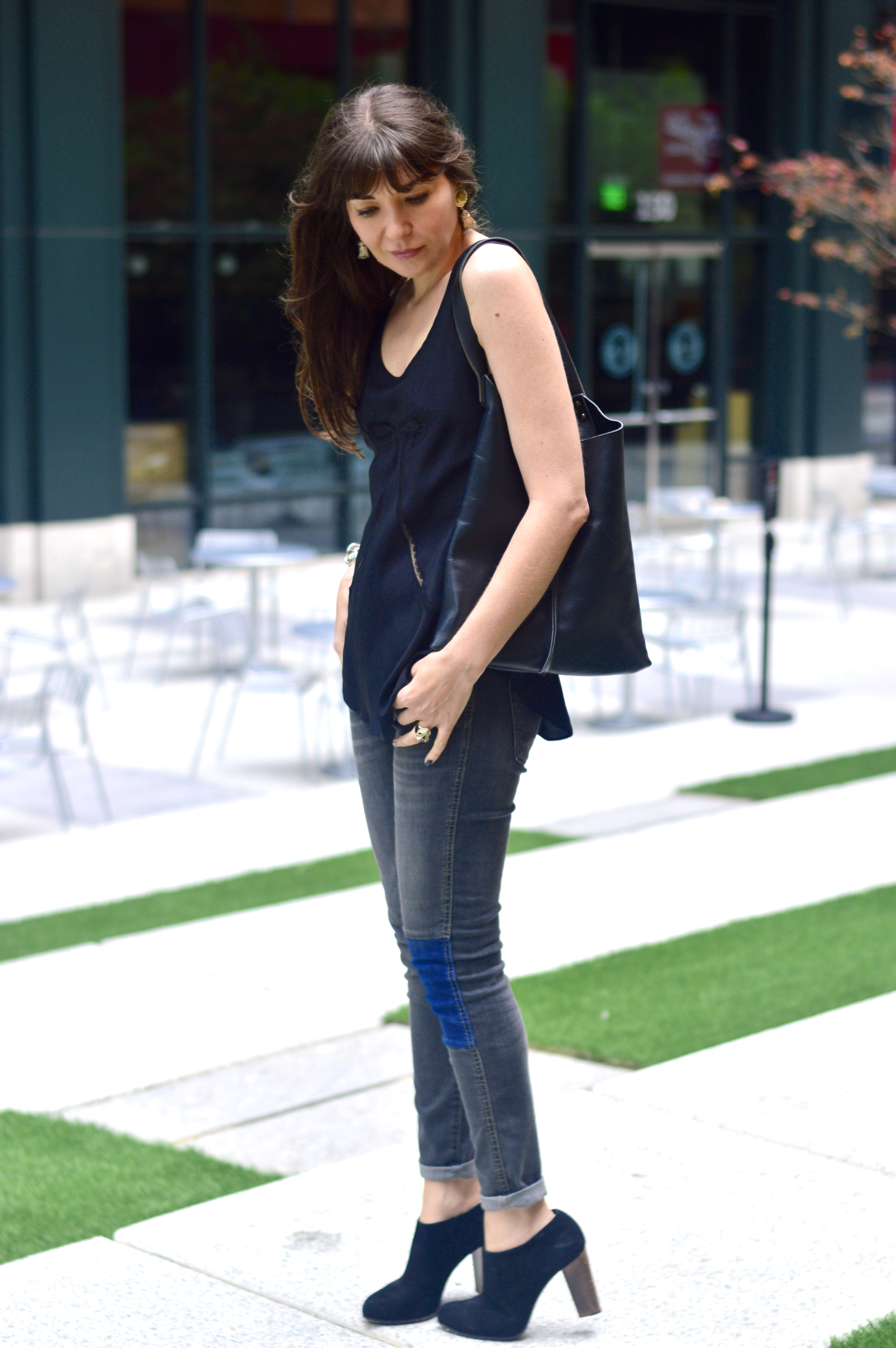 Cami top and jeans.