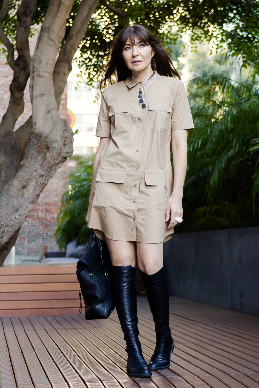 Safari dress and otk boots.