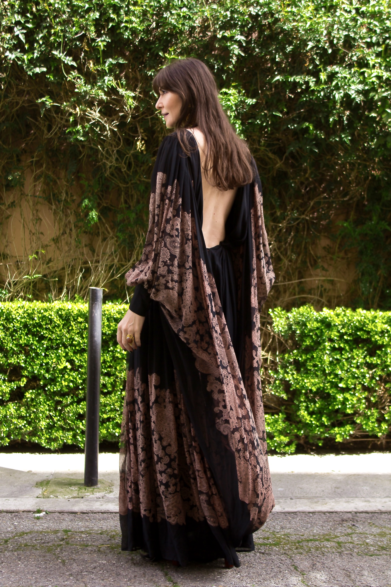 Boho gown and Sasha Maks Vintage statement earrings.