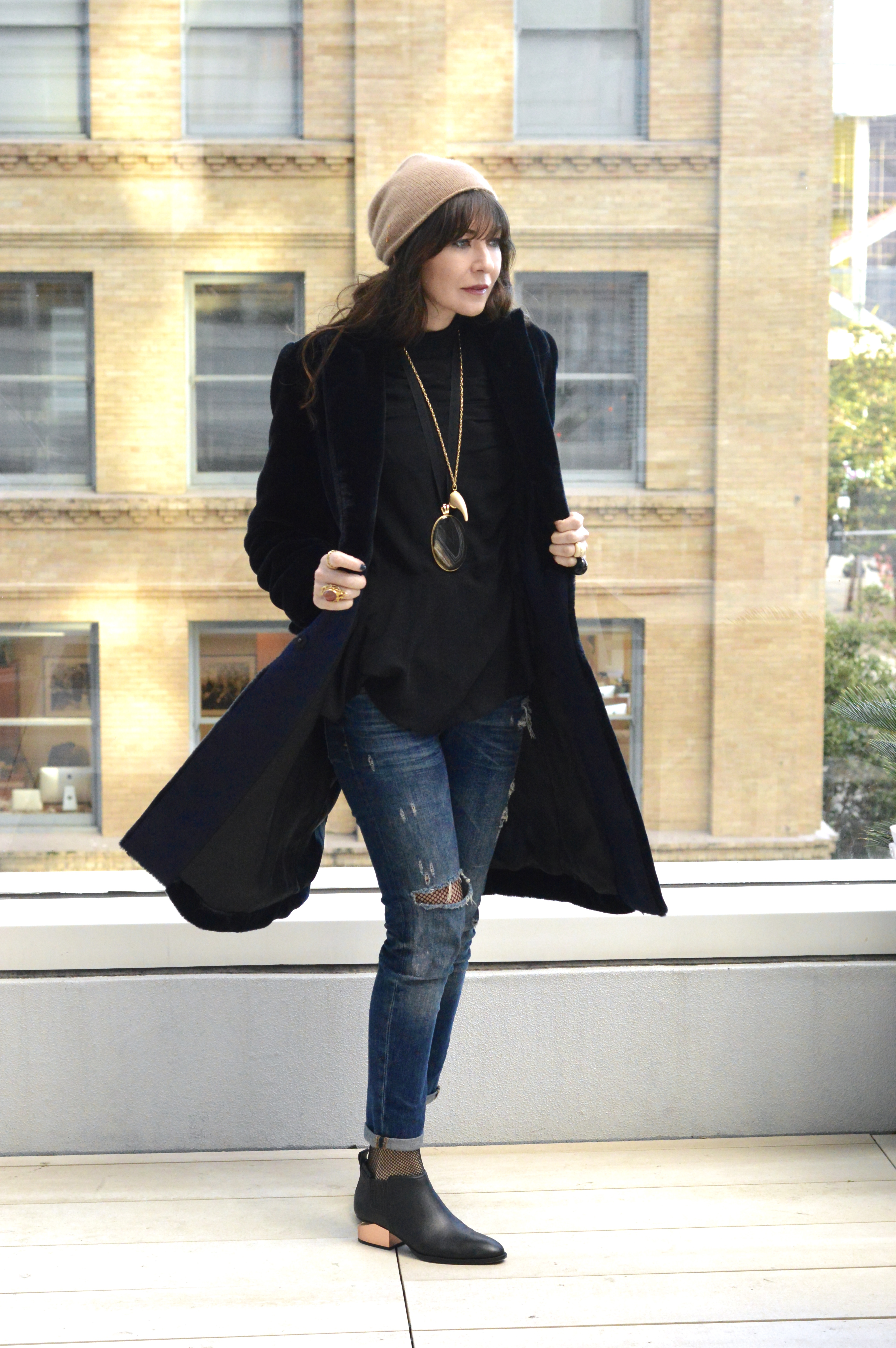 Teddy coat and statement jewels