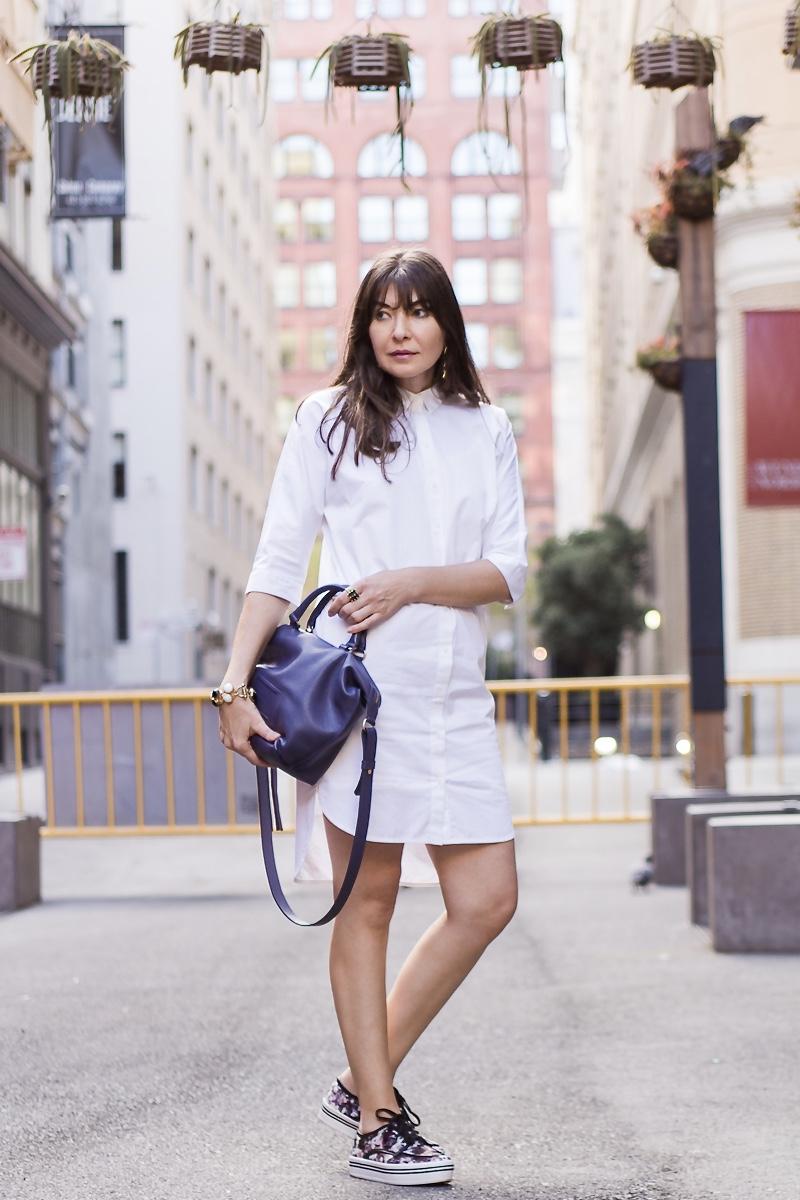 White shirtdress and platform sneakers