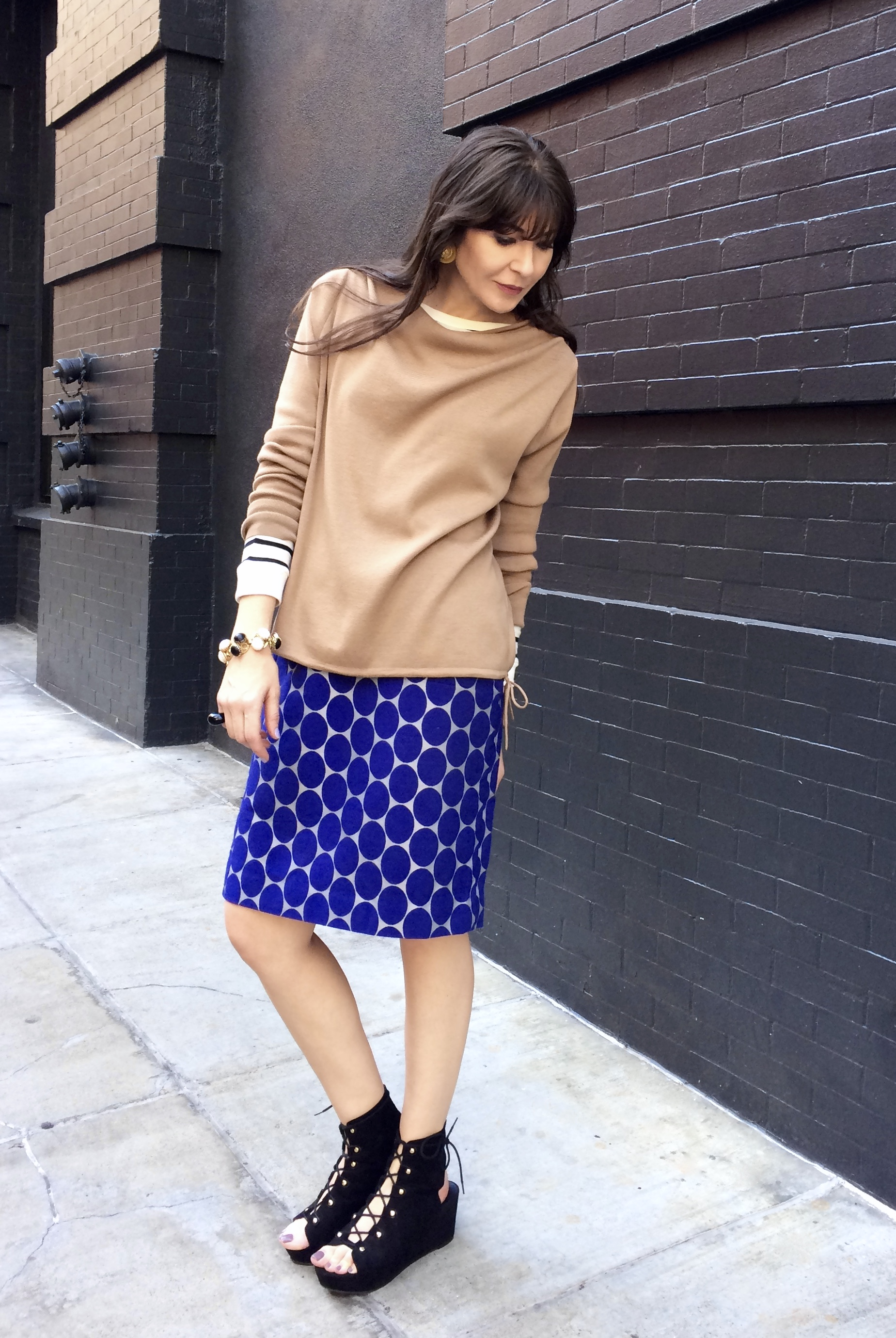 Mixing prints: Stripes and dots.