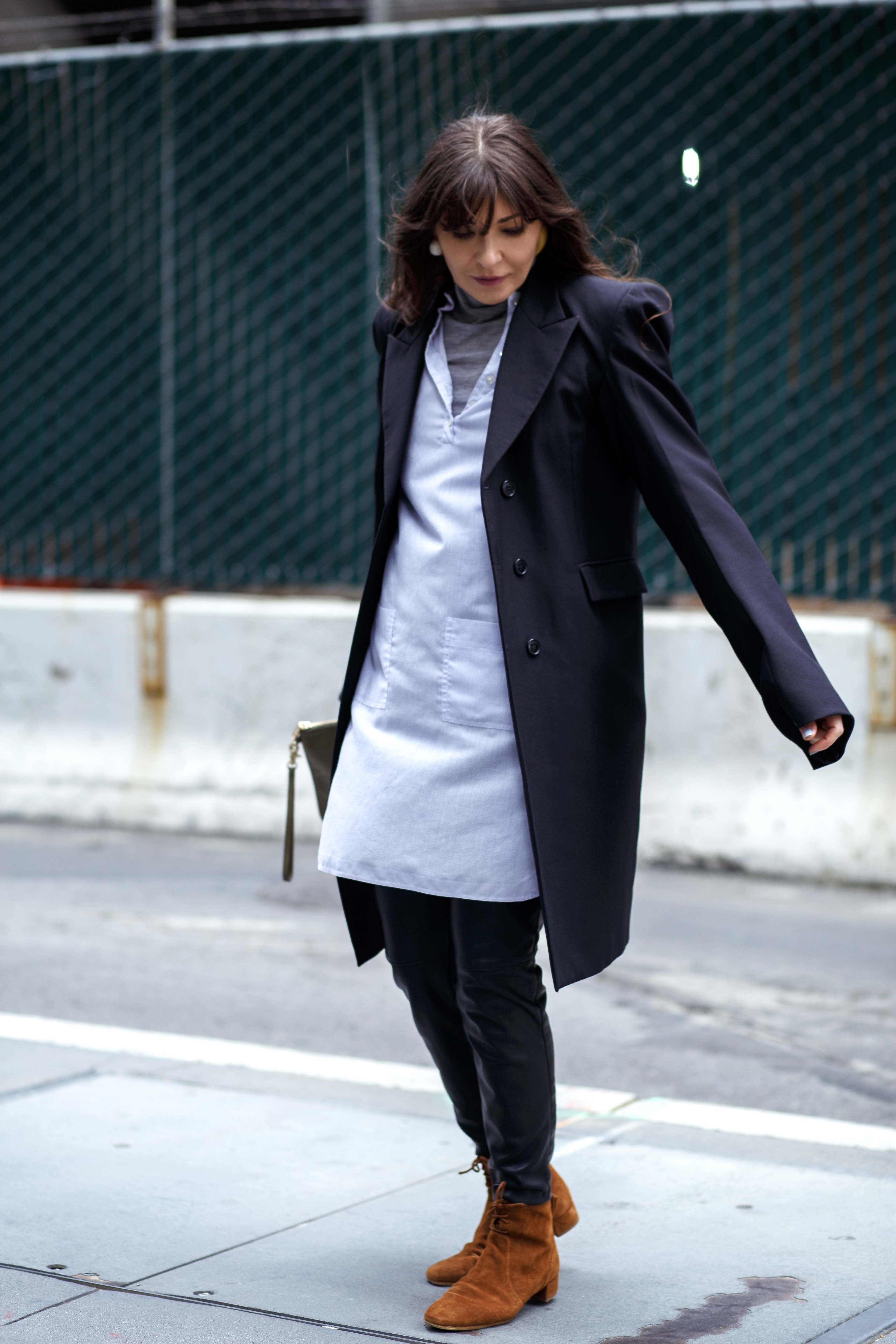 How to wear: dress over shirt dress.