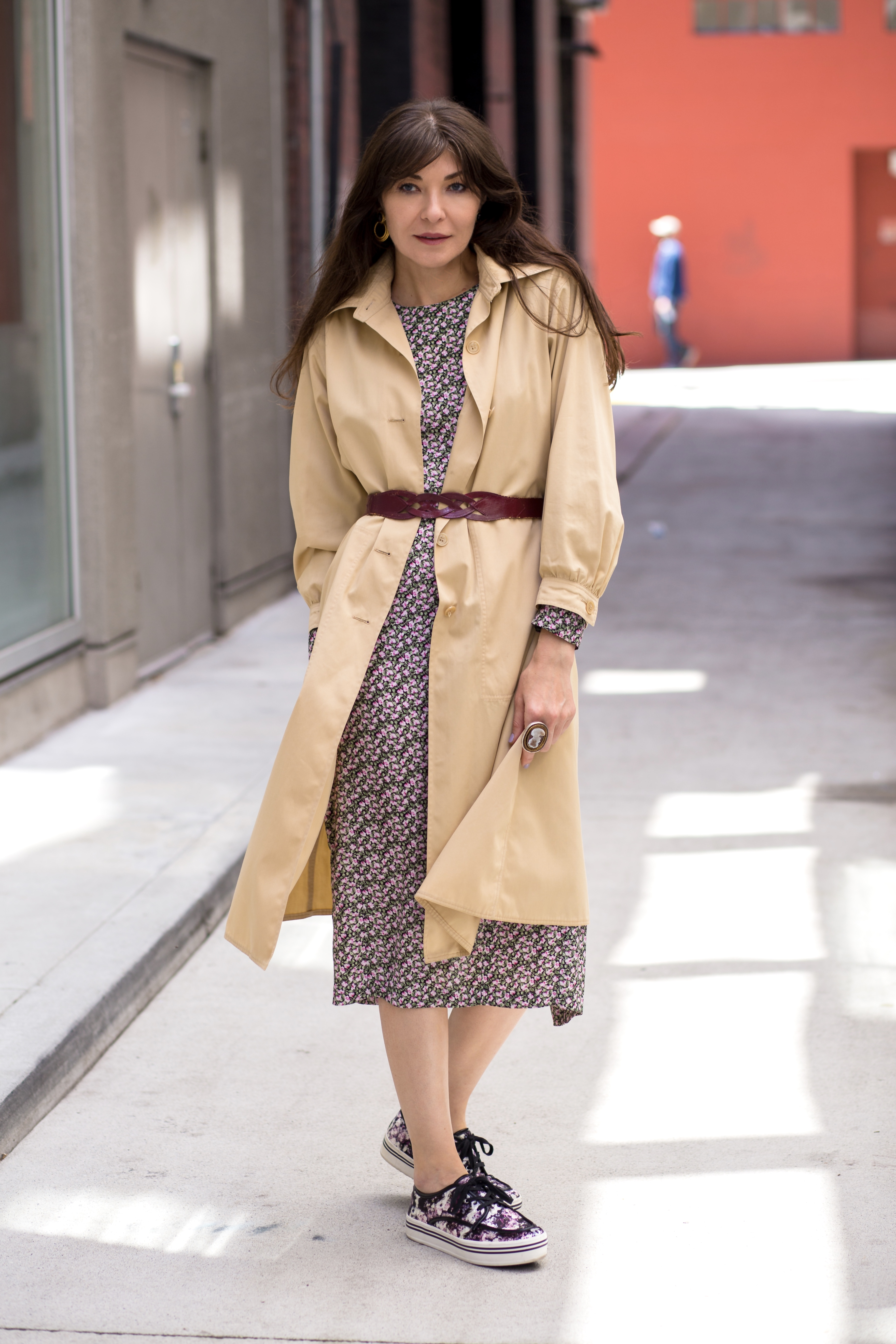 Vintage Courreges duster and floral midi dress.