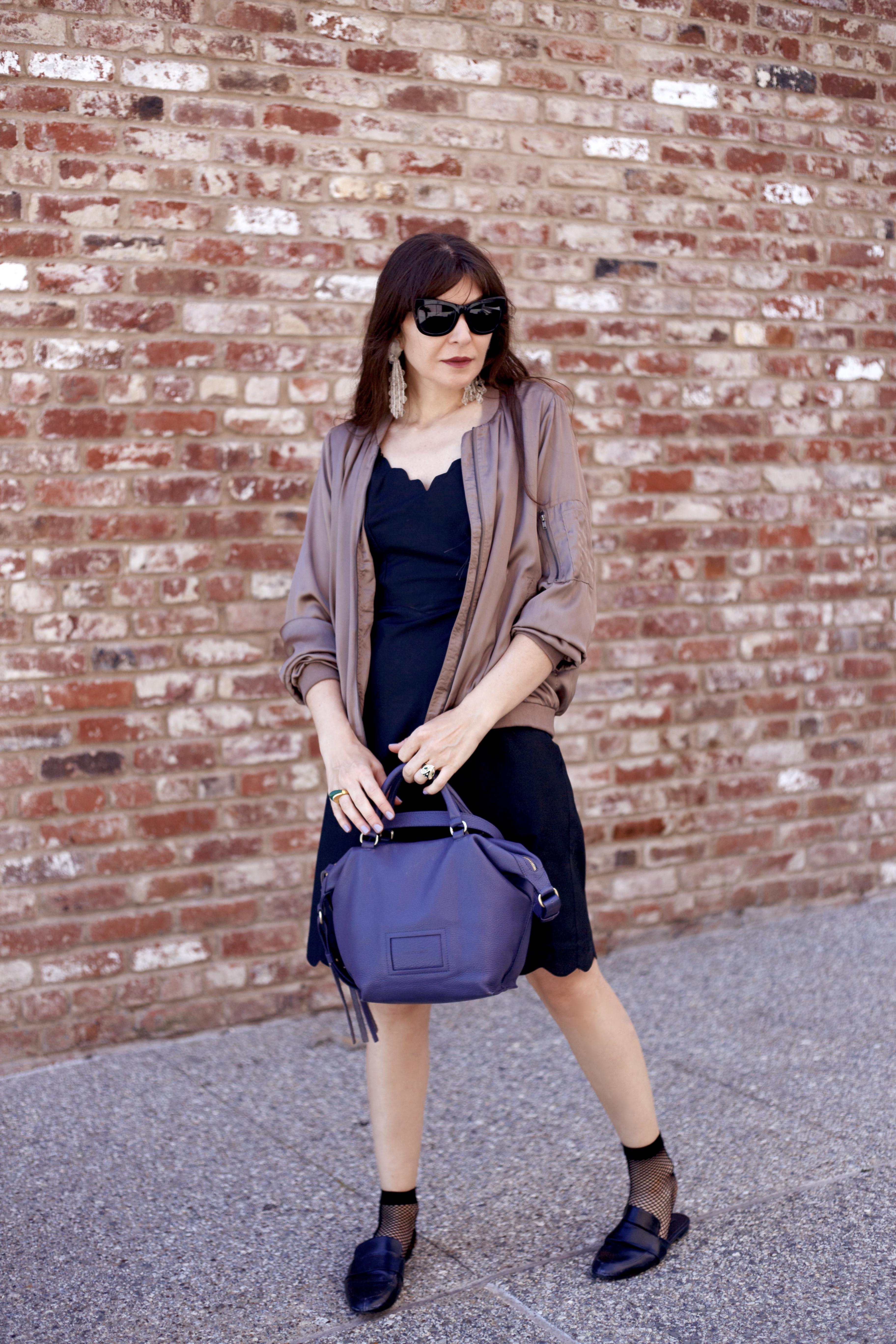 Vintage slip dress and bomber jacket.