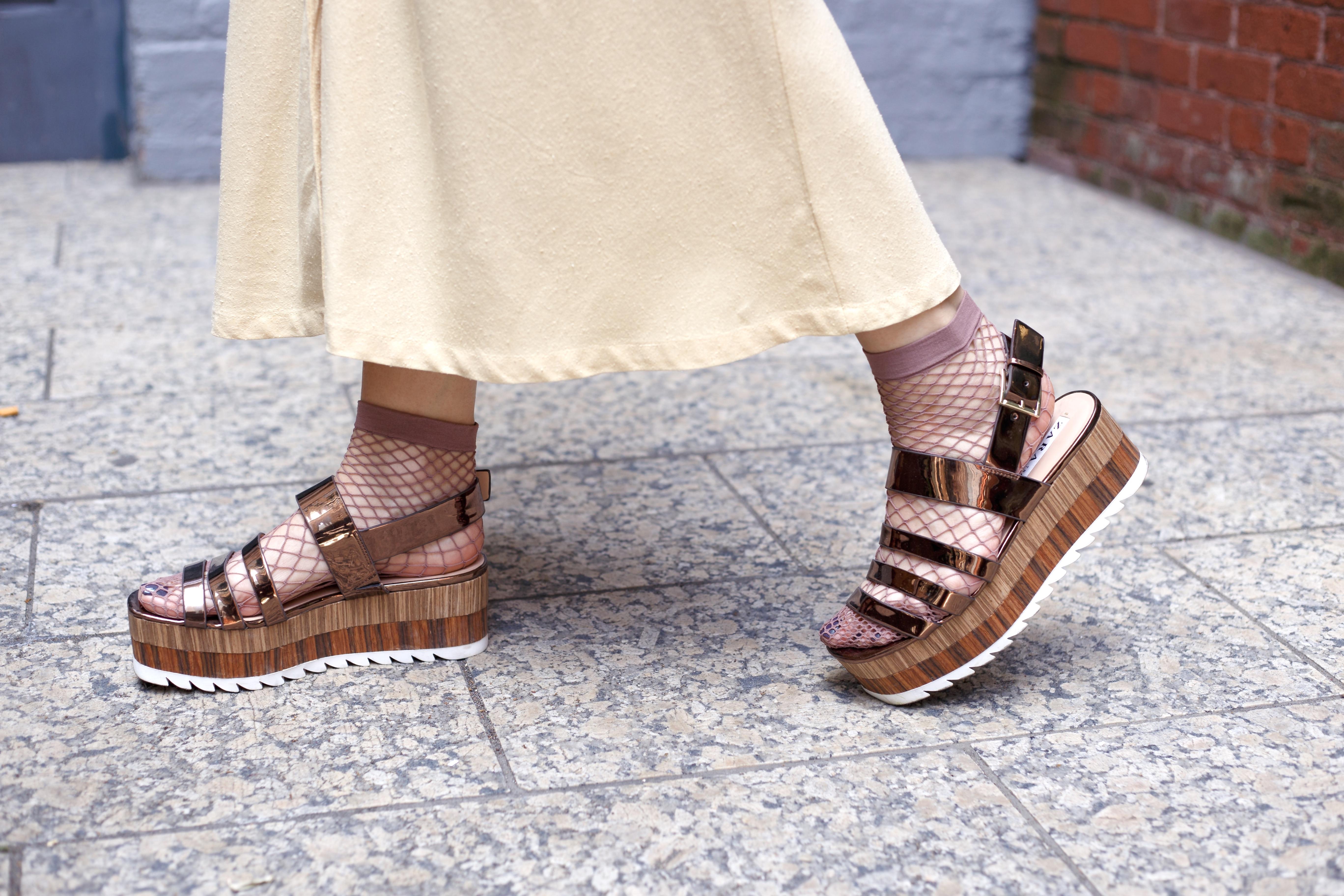 Maxi dress and fishnet socks