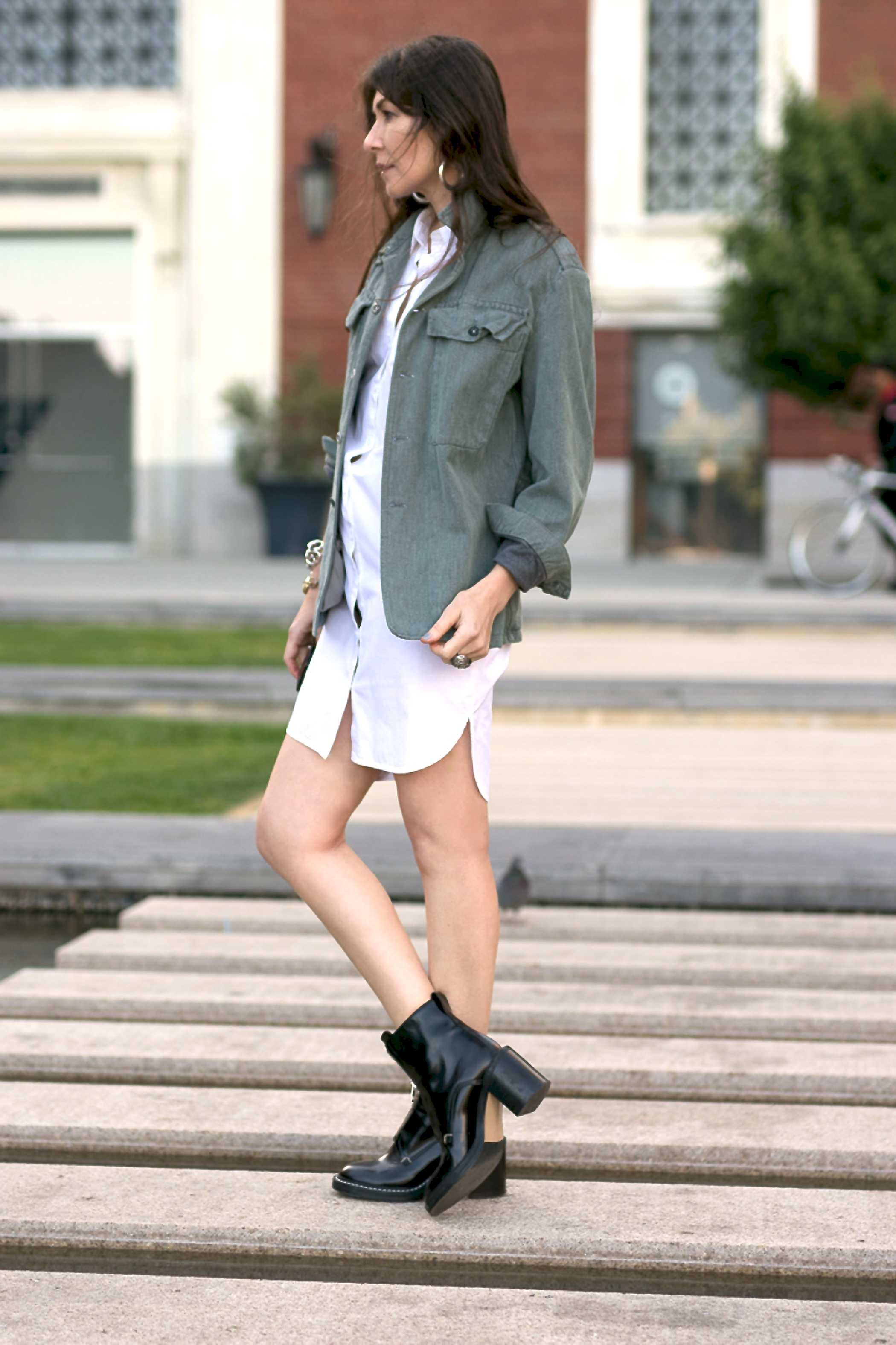 Shirt dress and vintage denim jacket.