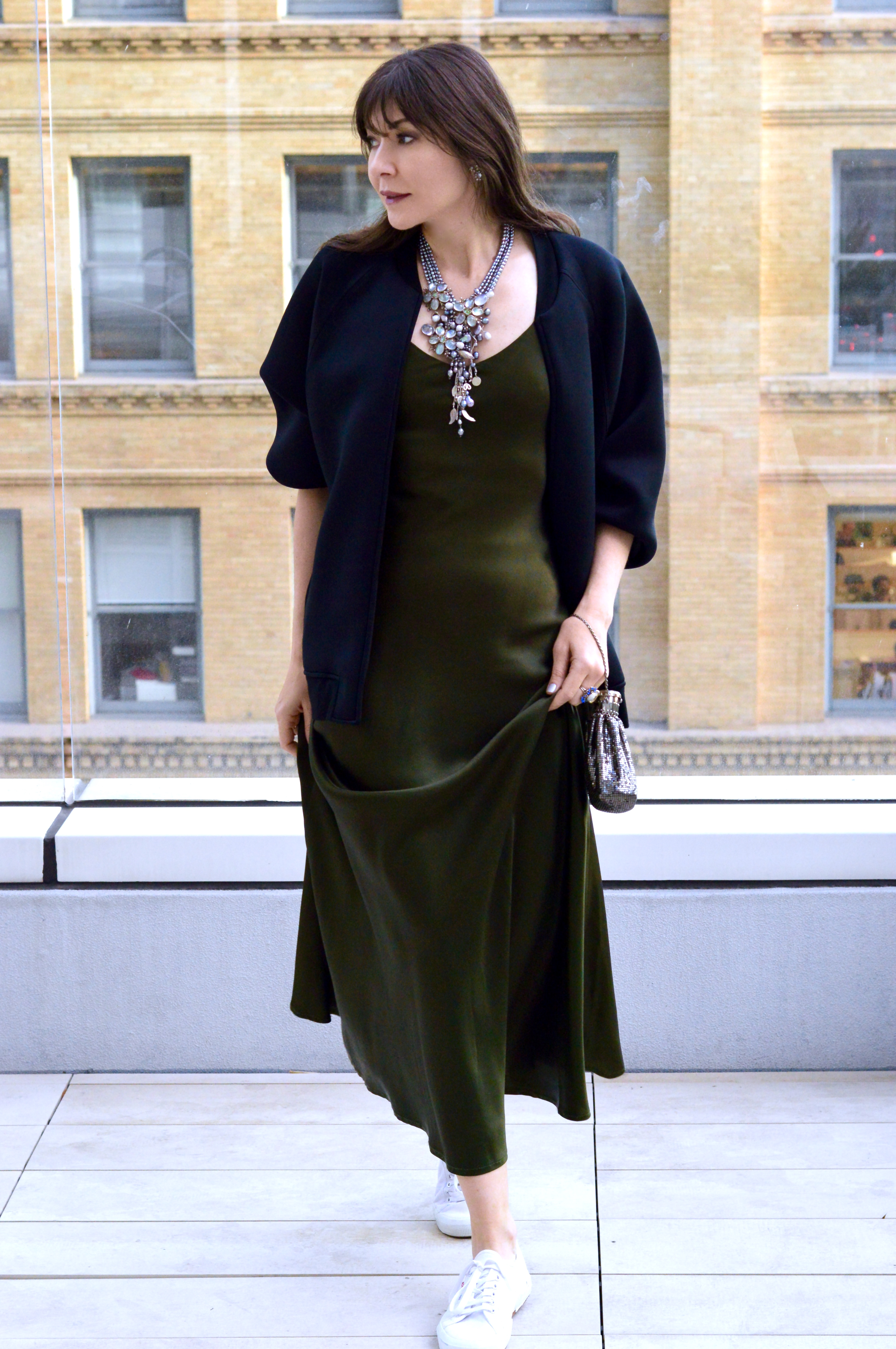 Statement necklace, slip dress and sneaks.