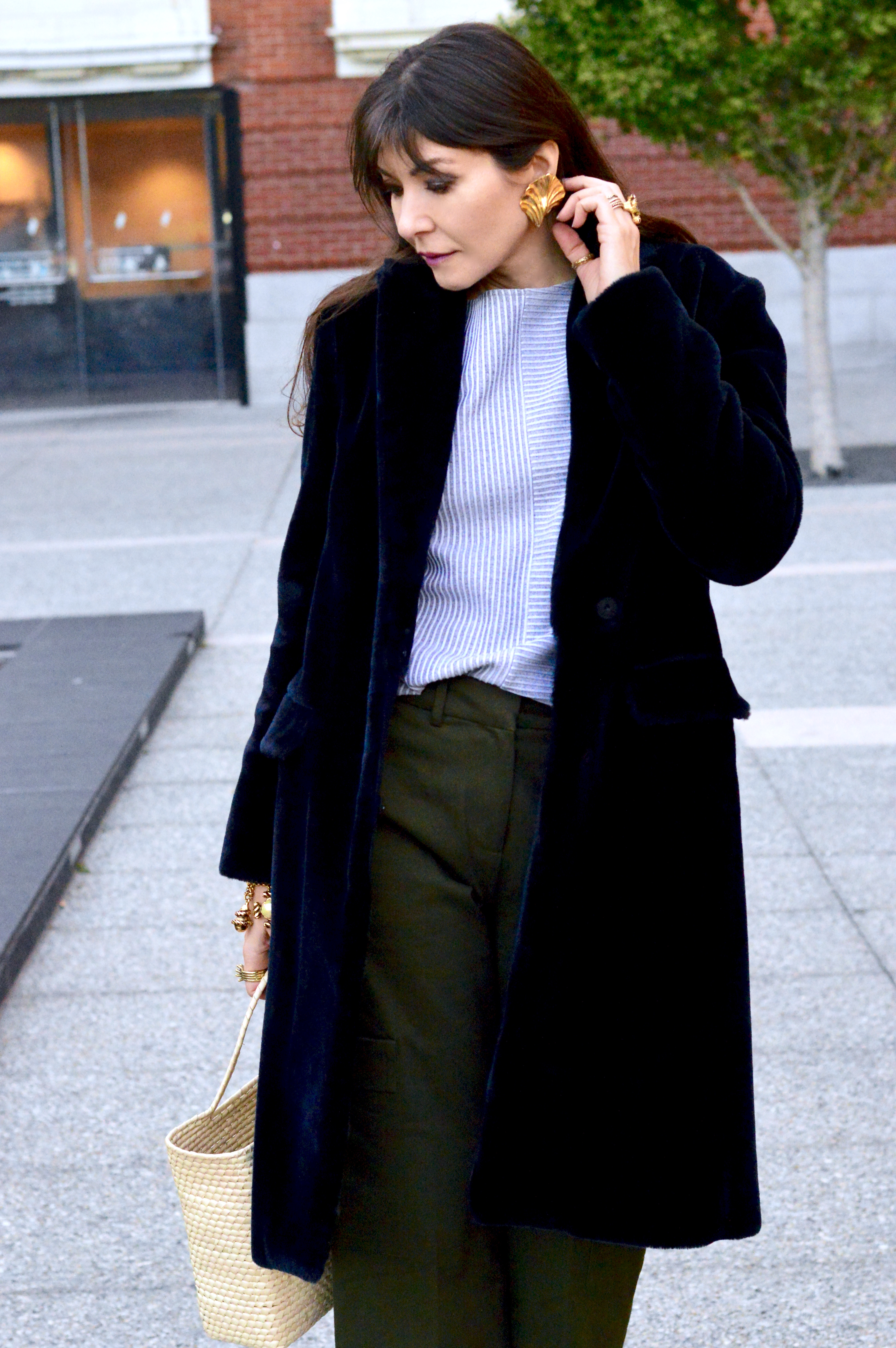Teddy Coat and chinos.