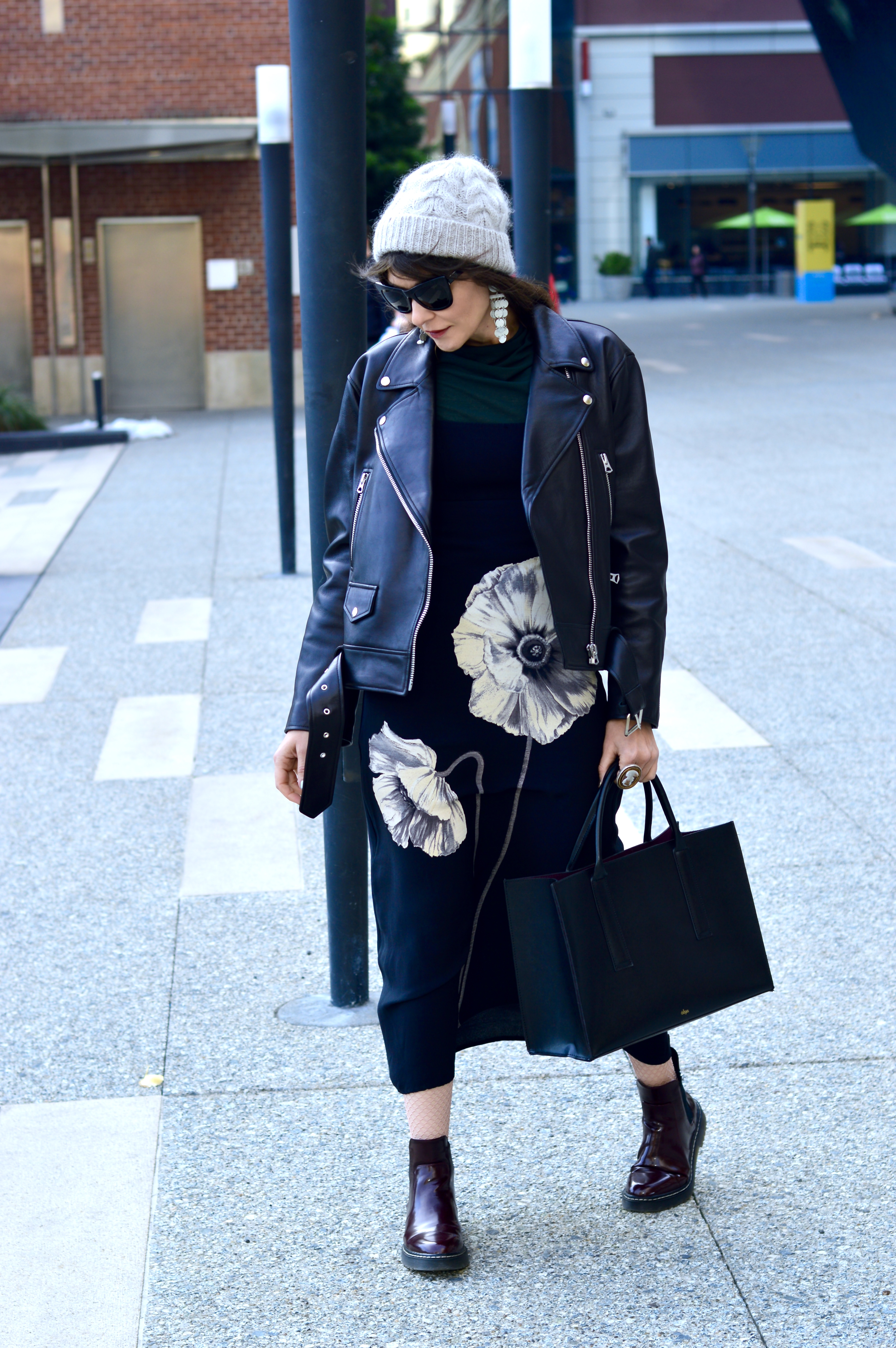 Moto jacket and floral maxi dress.