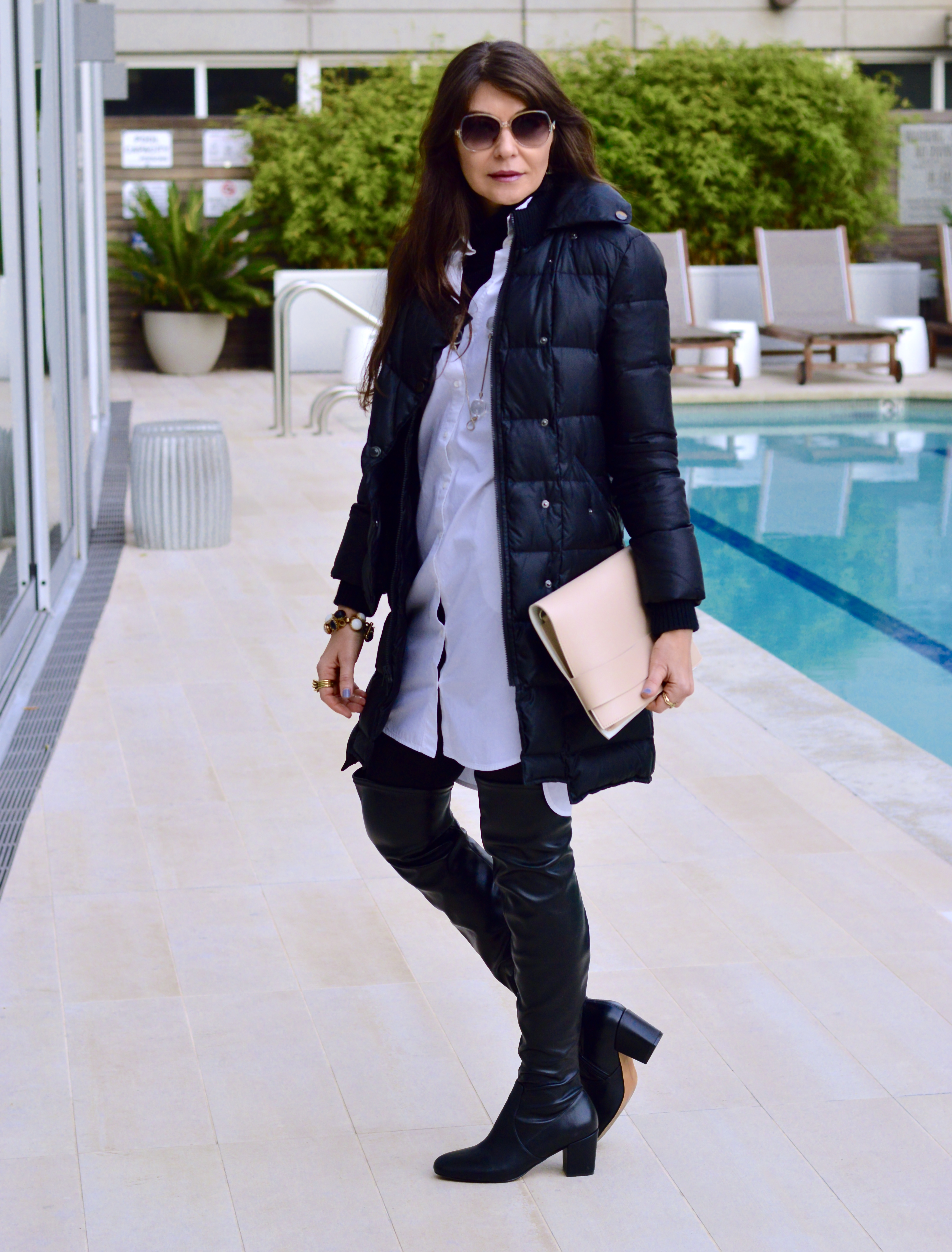 Puffer and over-the-knee boots.