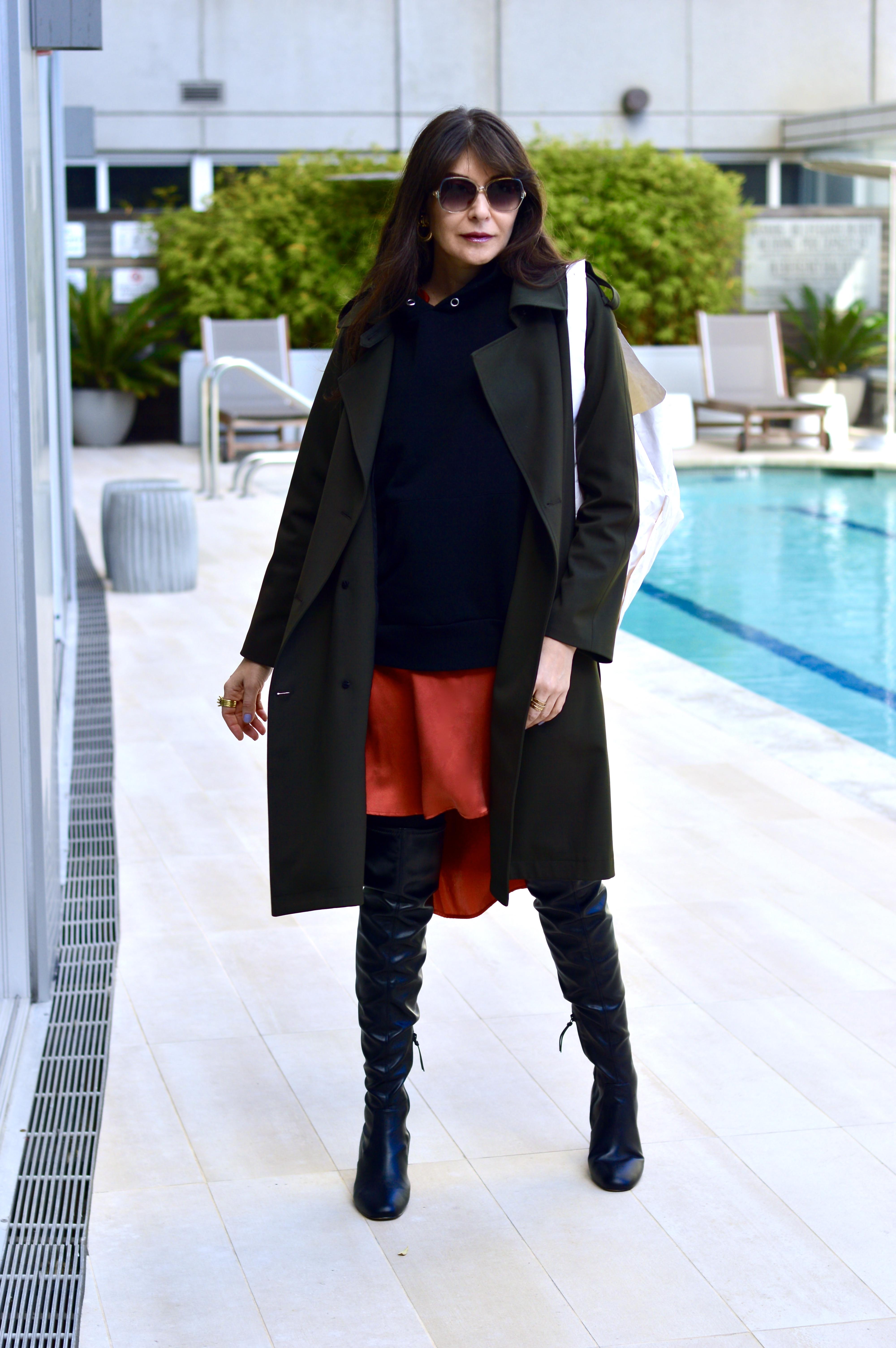 Silk dress + hoodie + trench coat