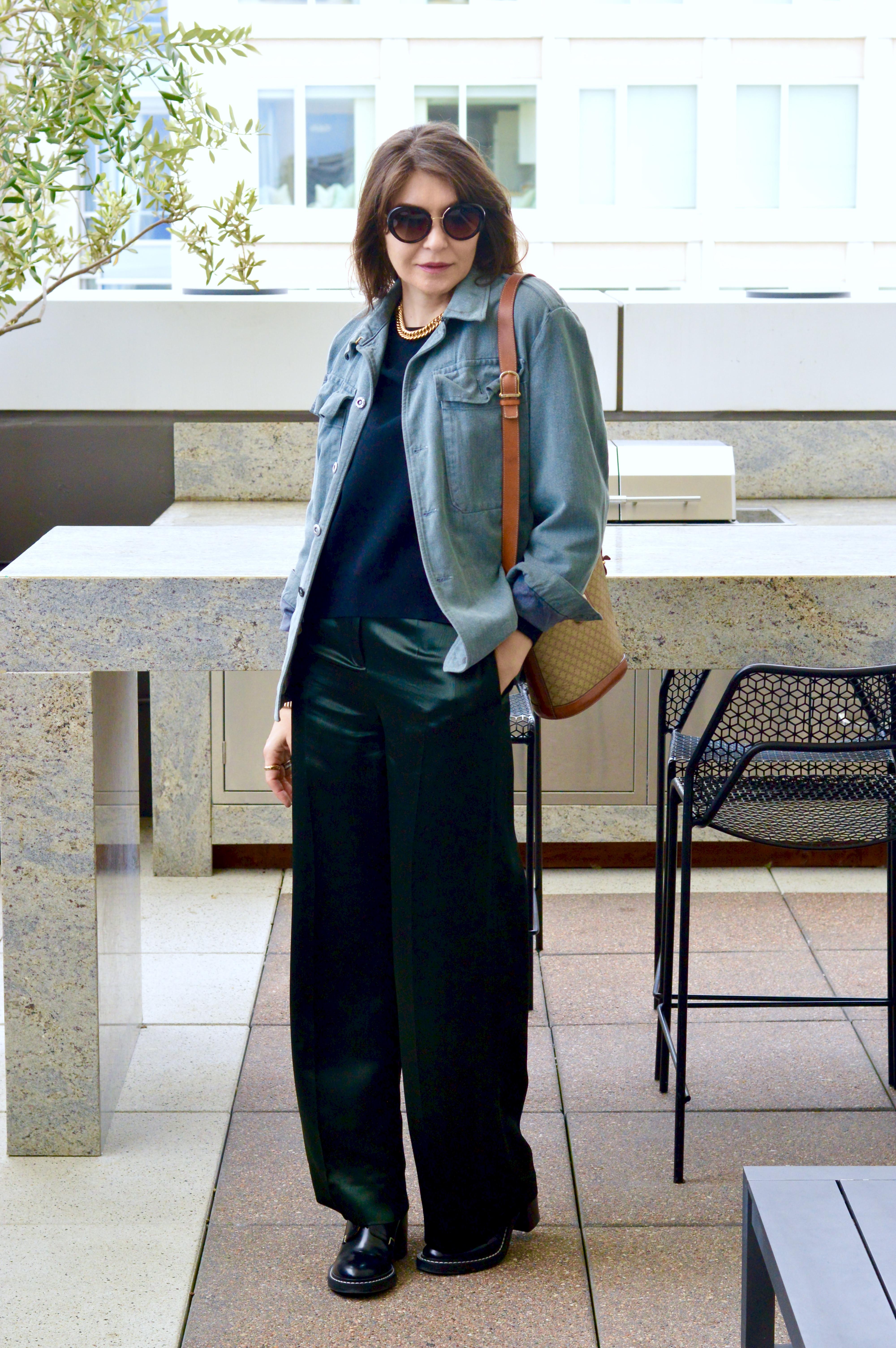 Vintage denim jacket and satin pant.