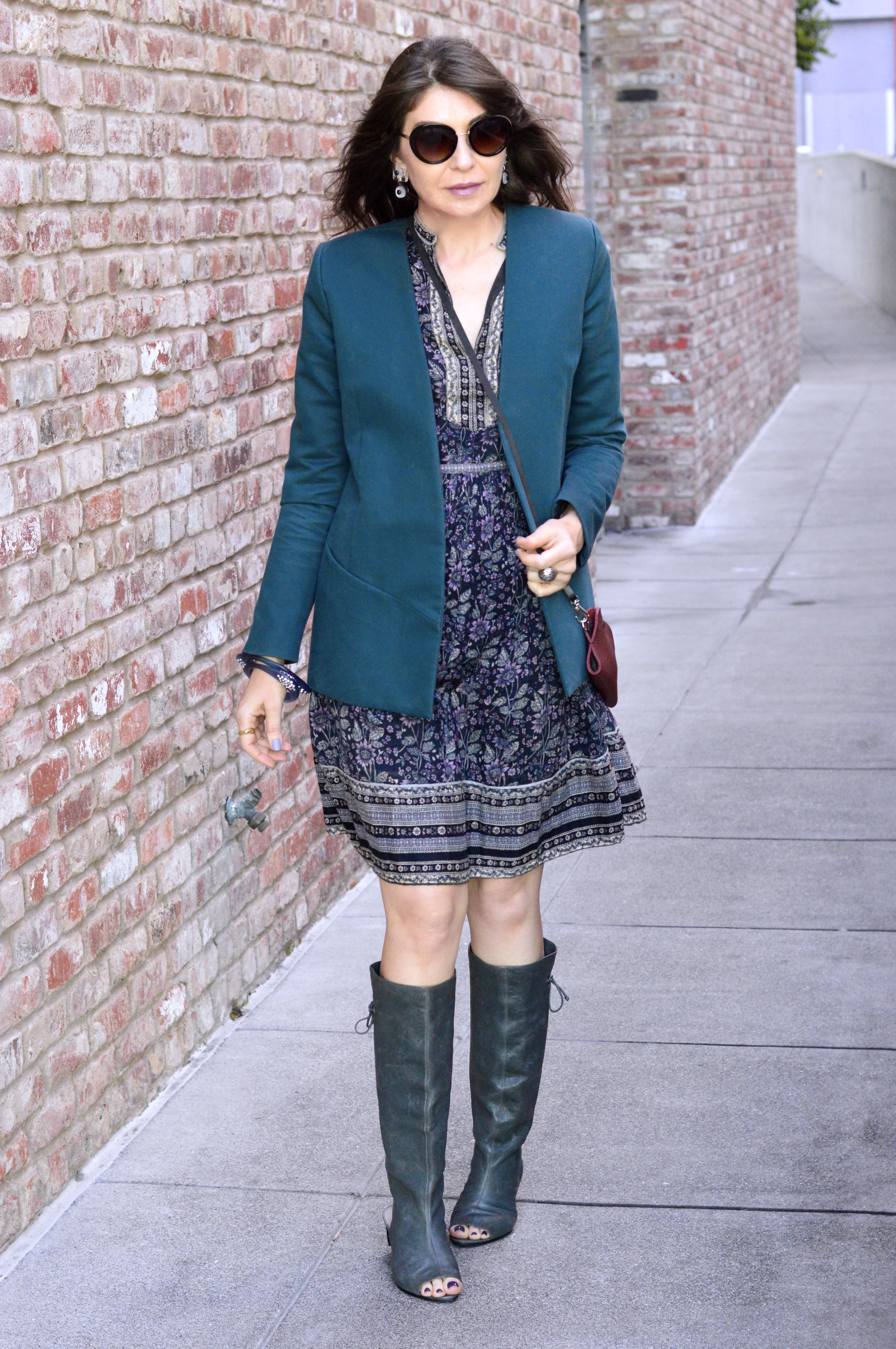 Vintage boho dress and peep-toe boots.