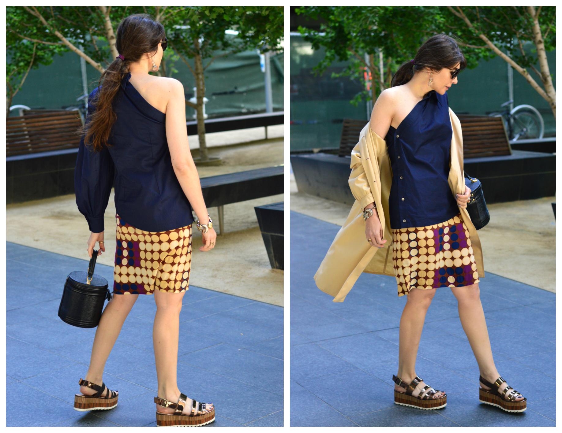 One-shouder shirt and polka dot skirt.