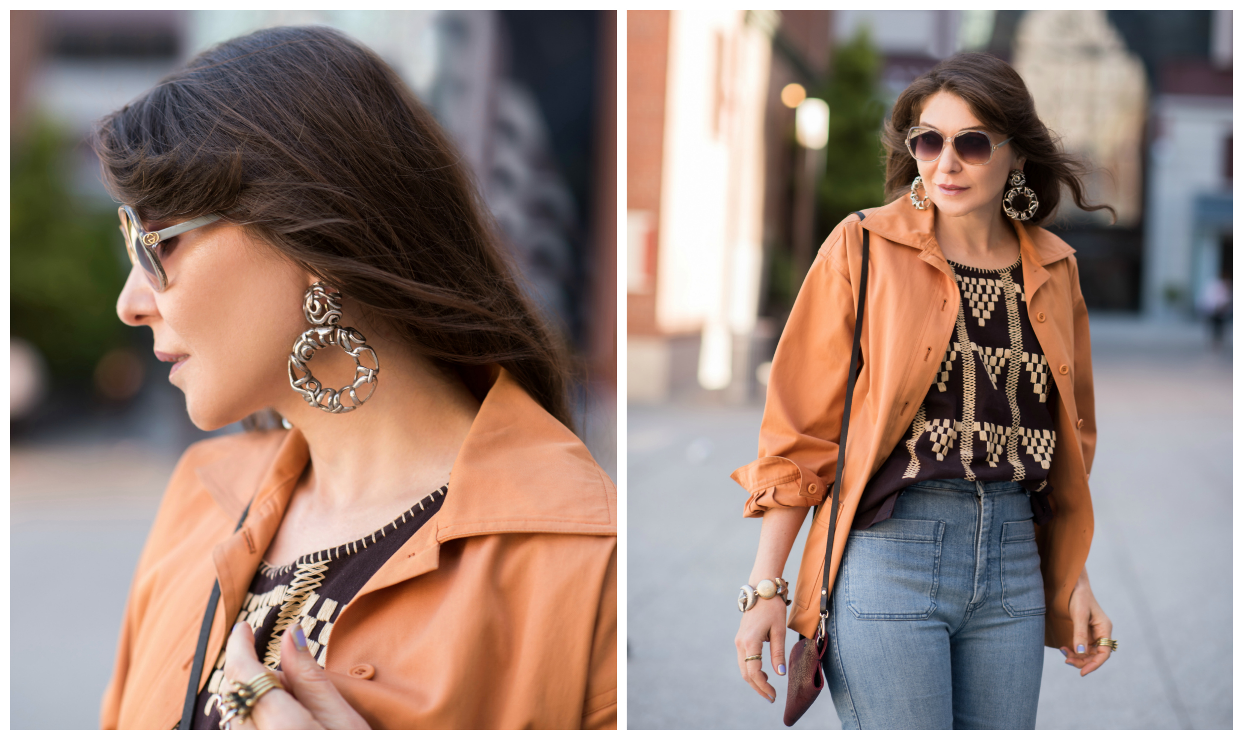 Sasha Maks Vintage flared jeans and embroidered top.