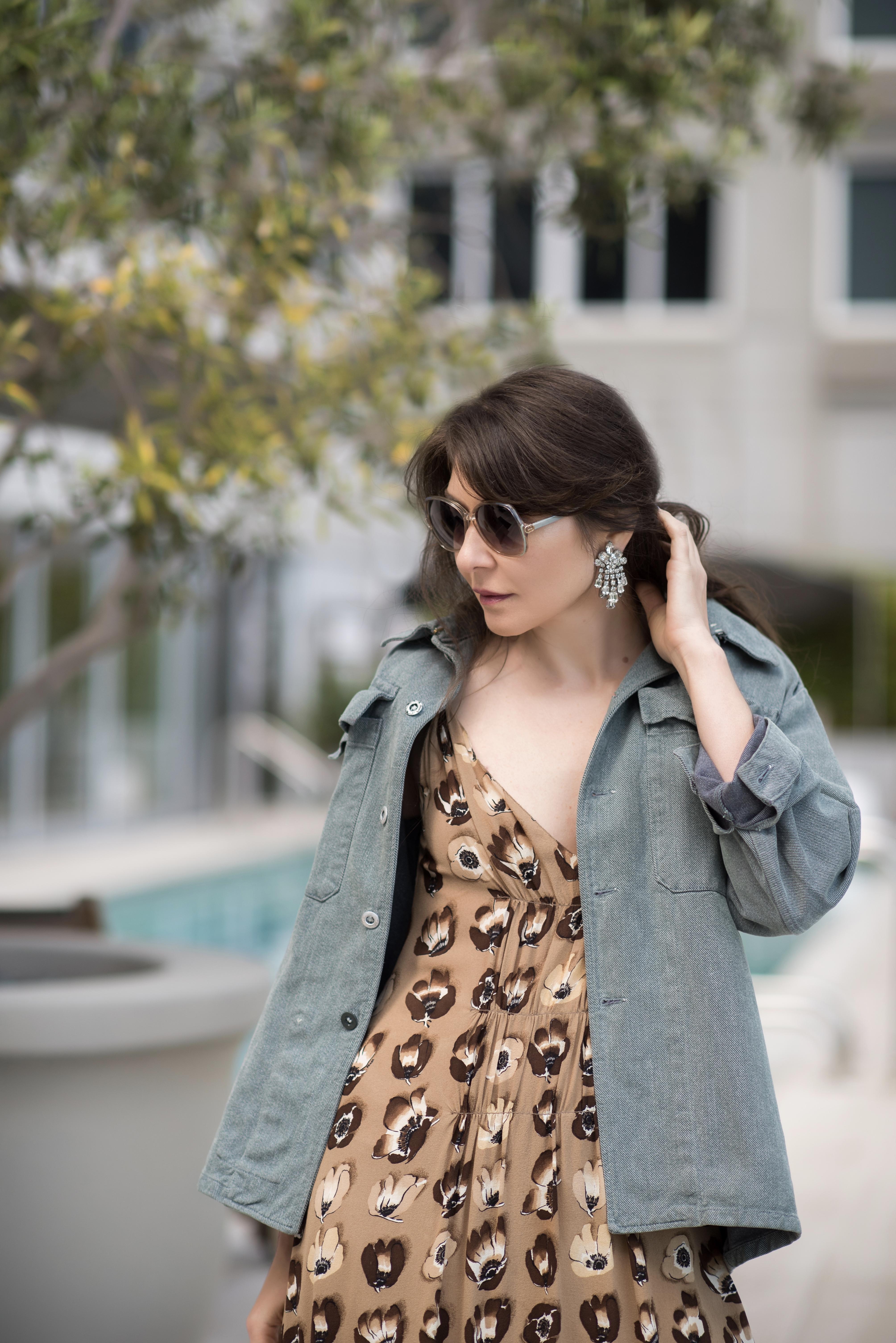 Slip dress and denim jacket.
