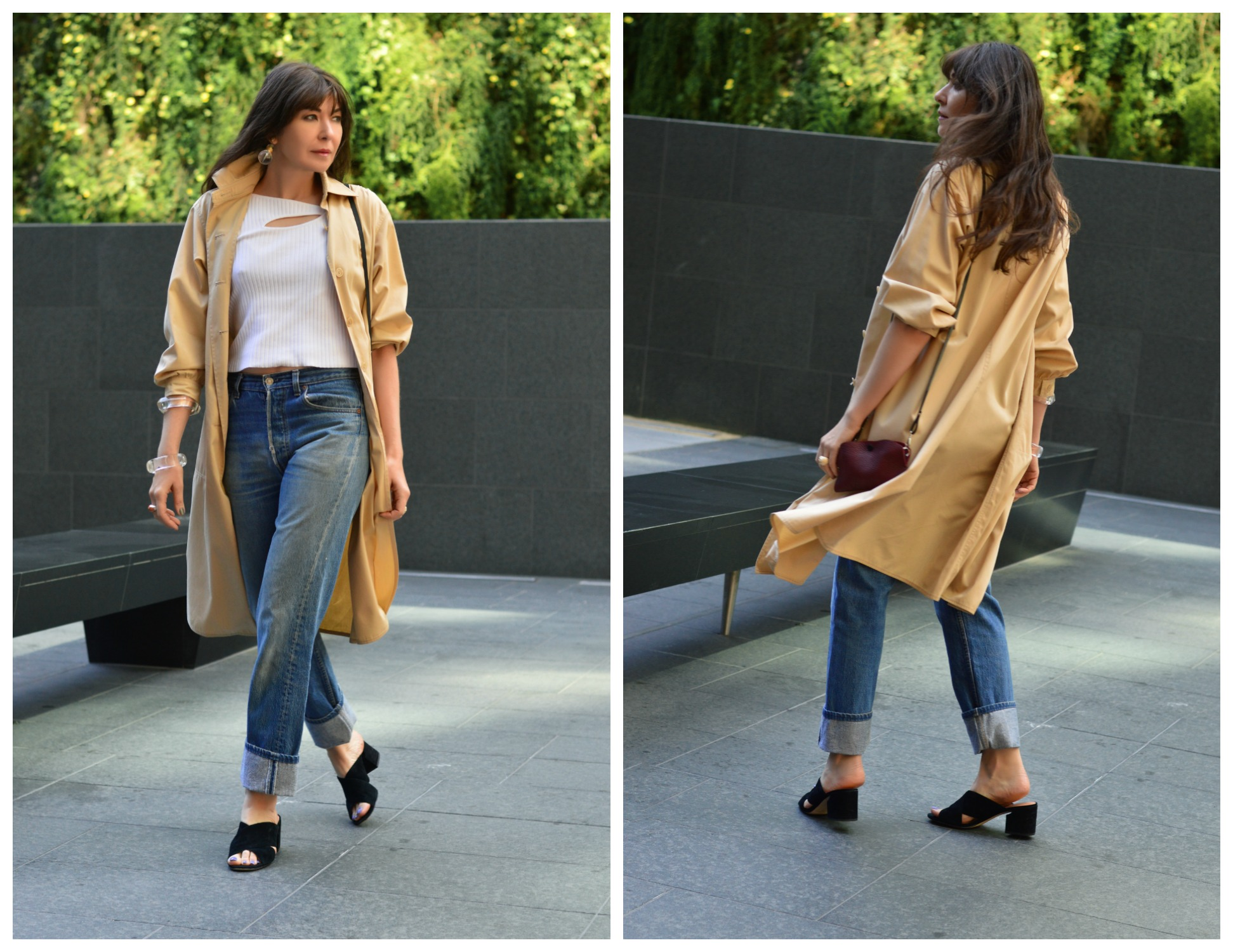 Courreges duster and vintage Levi's jeans.