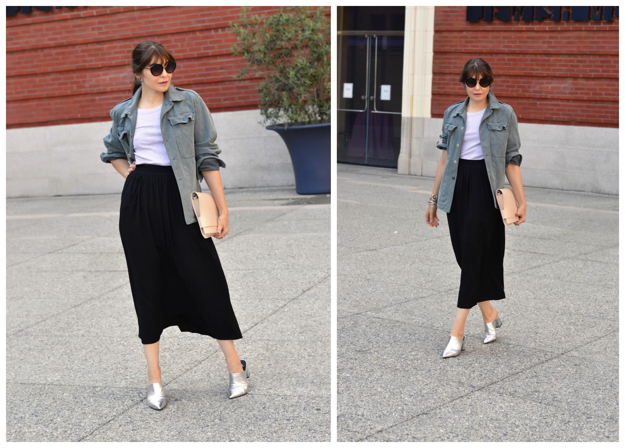 Vintage denim and maxic skirt.