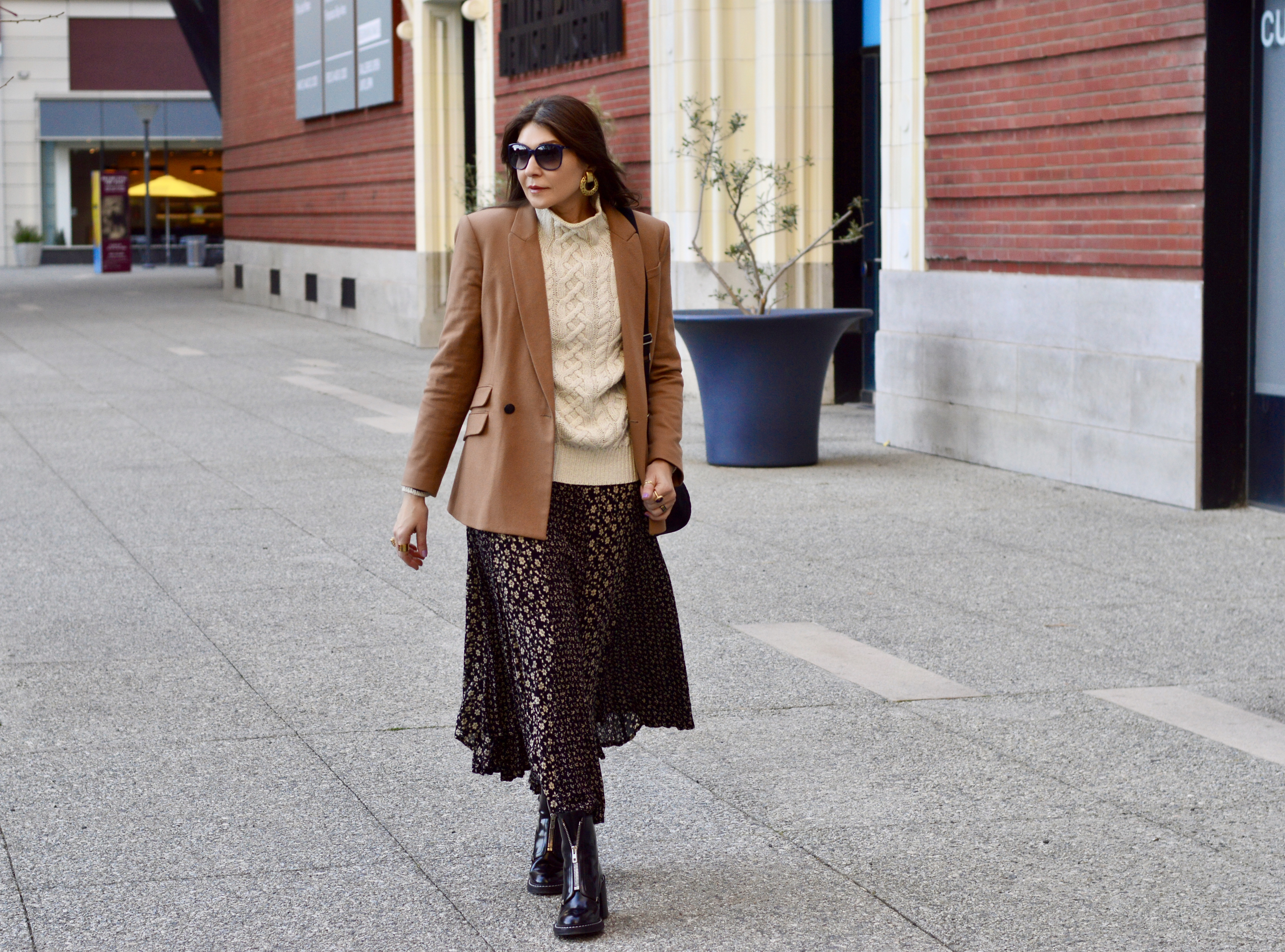Camel blazer and maxi floral skirt.