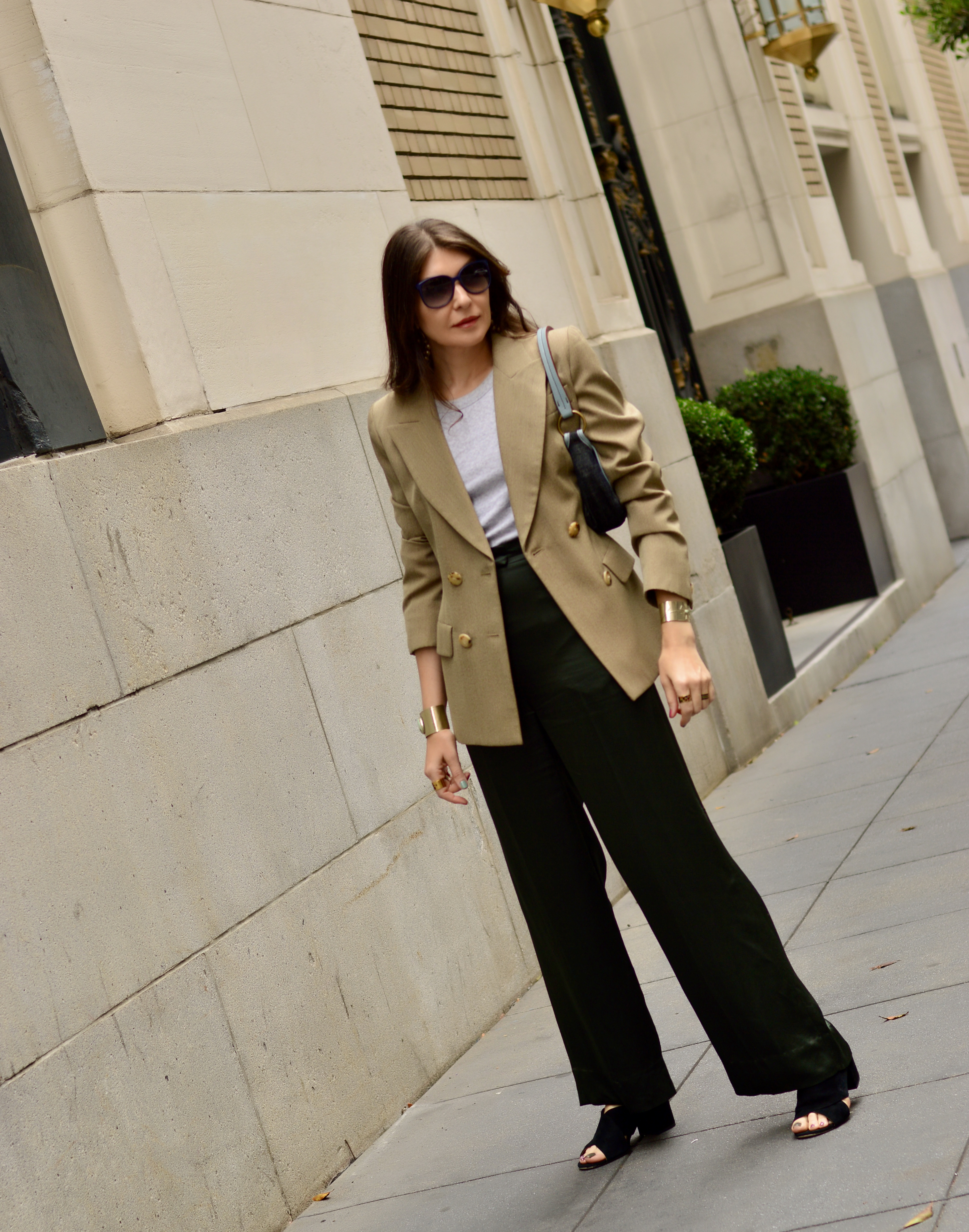 Blazer and satin pants.