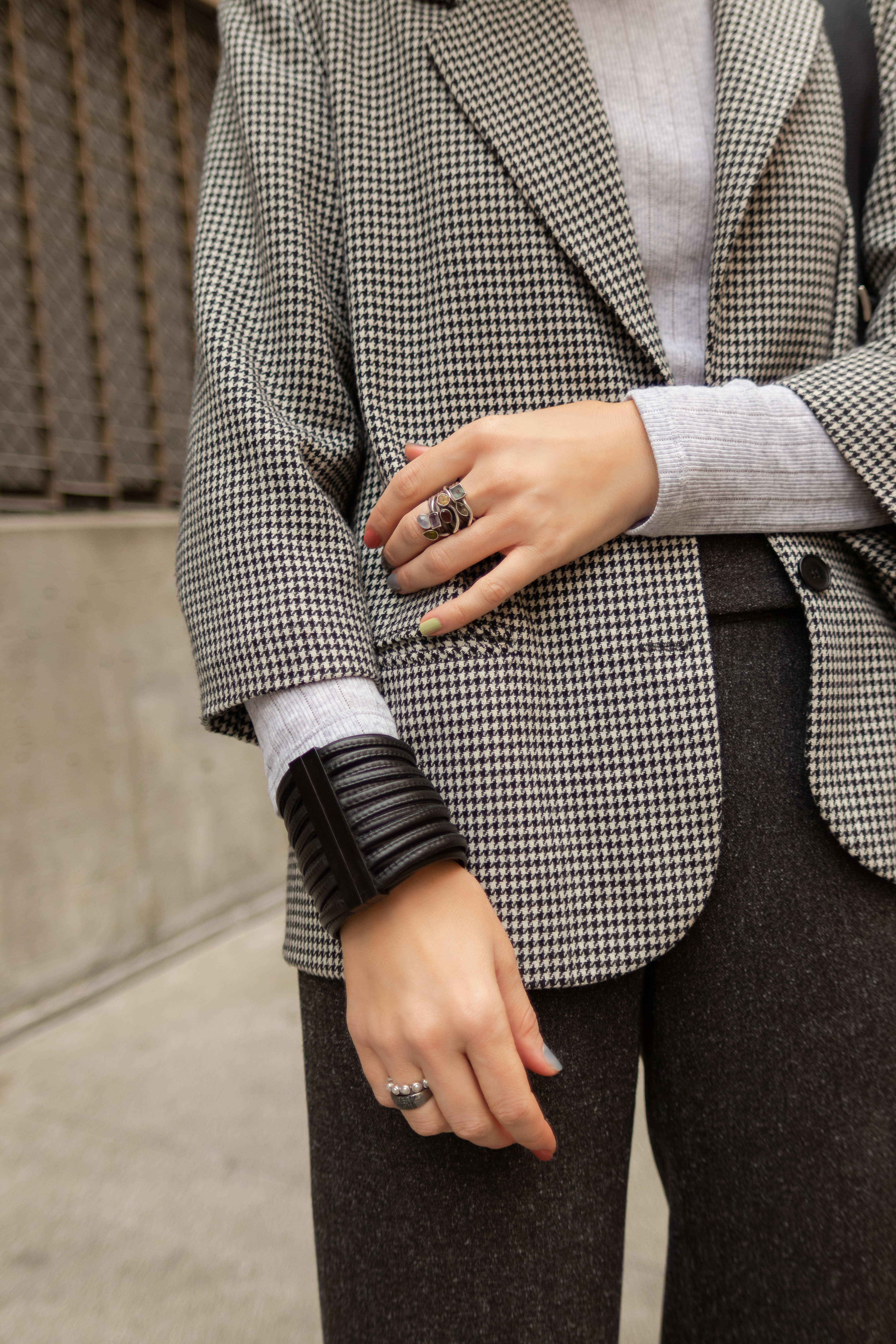 Houndstooth blazer and silver mules.