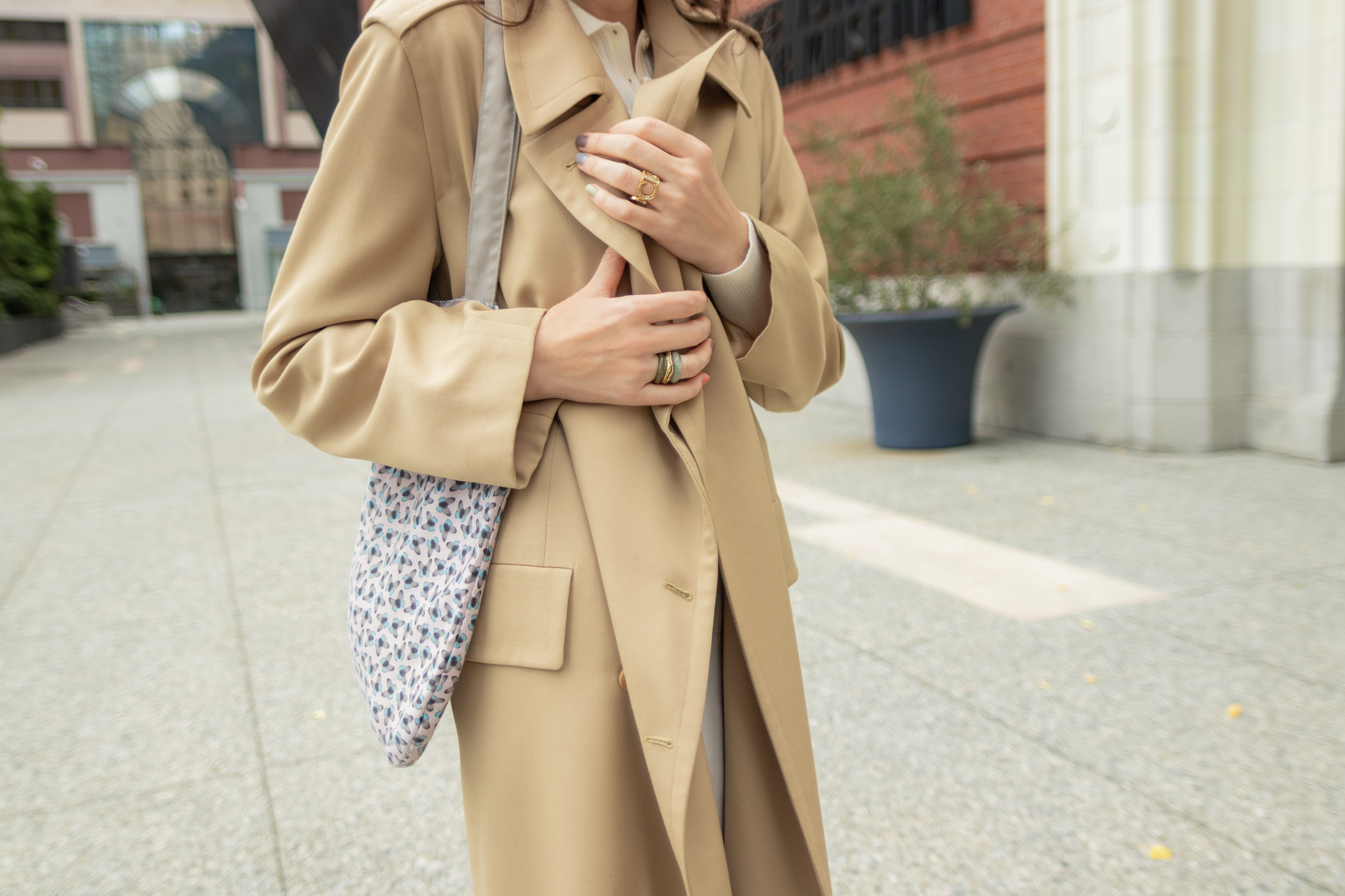 Trench coat and slip skirt.