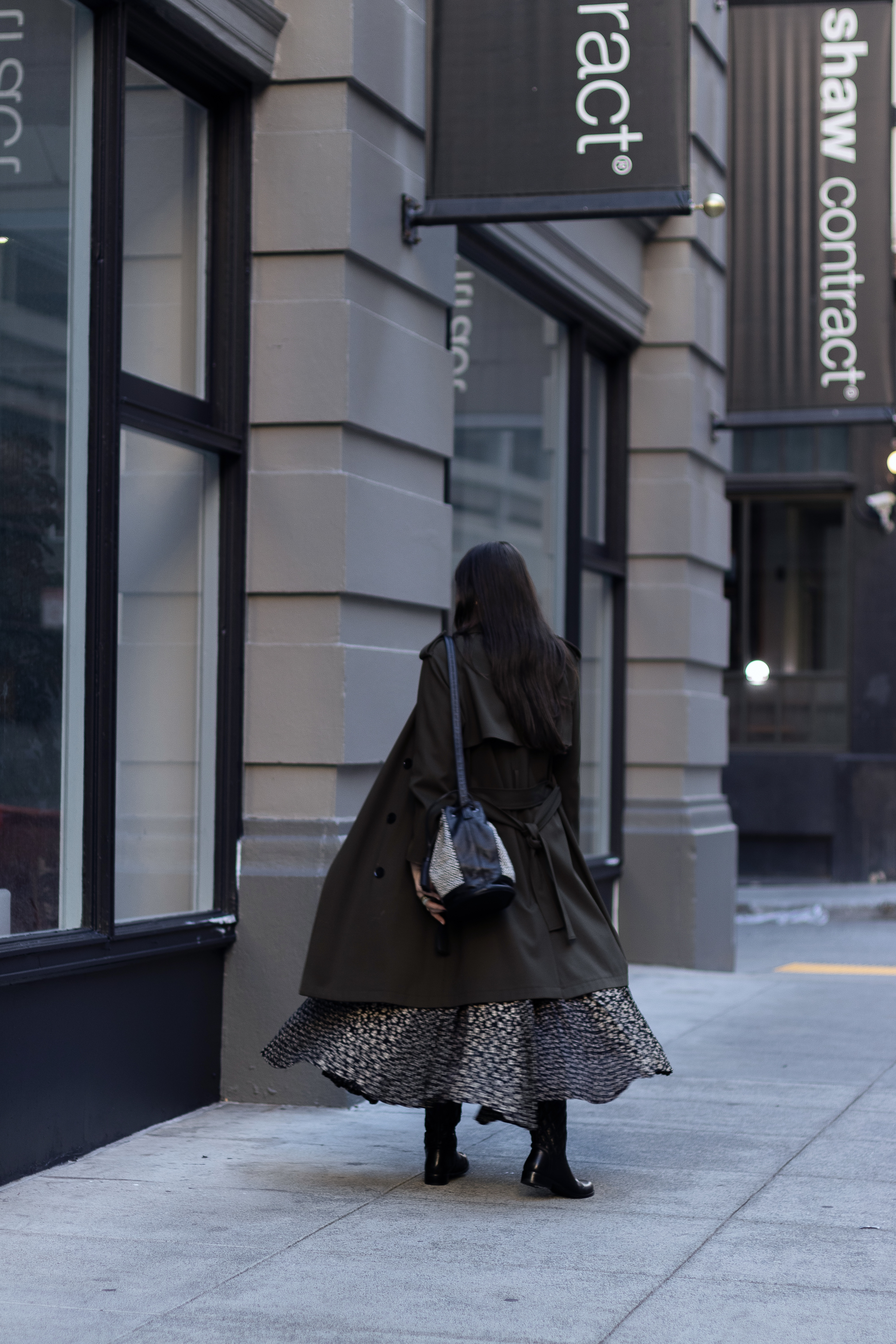 Trench coat and maxi floral dress.