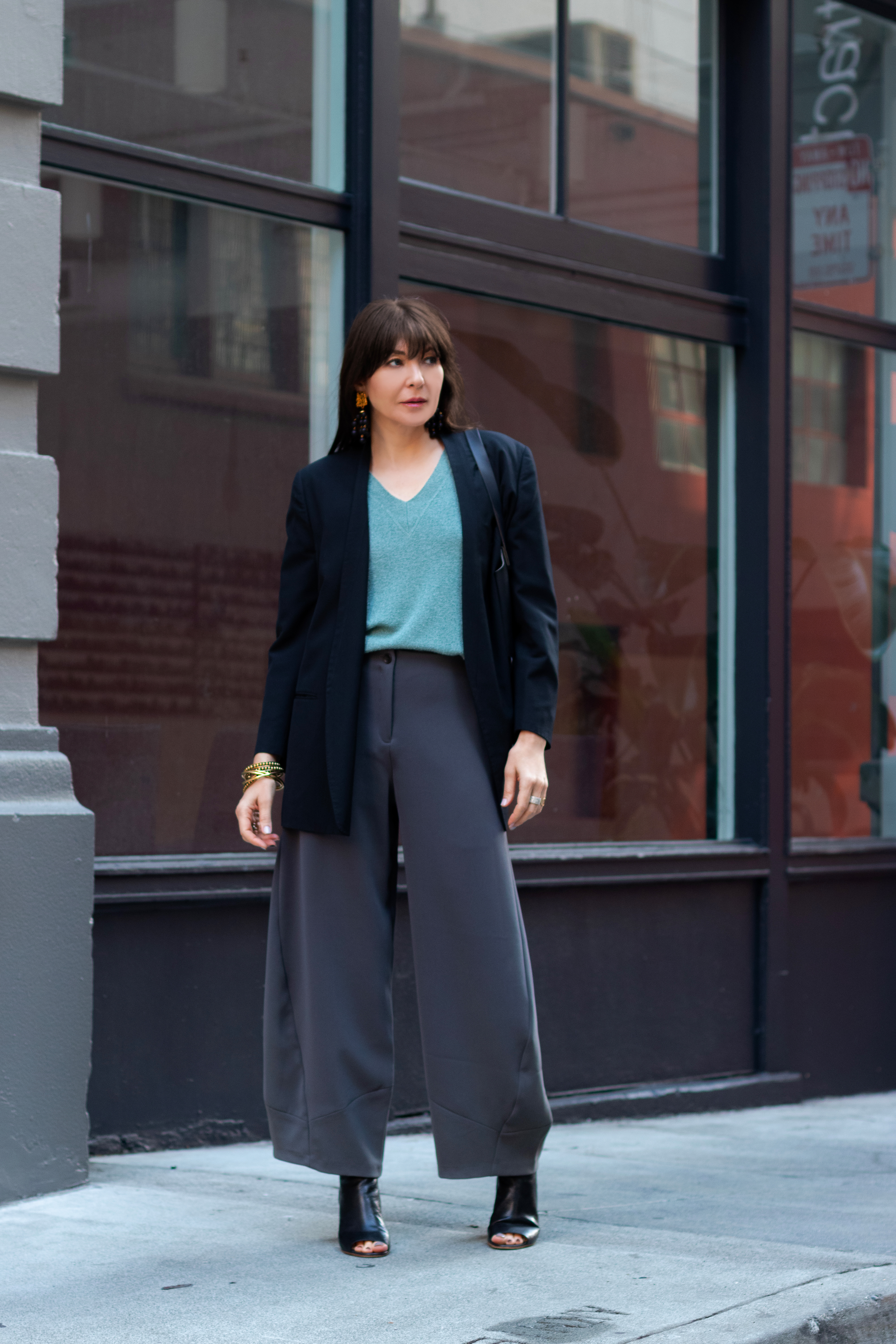 Oversized blazer and wide leg pant.