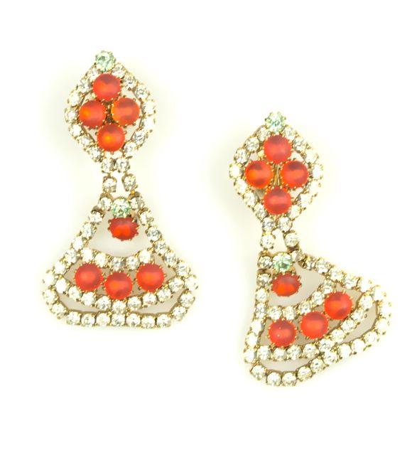Frosted Orange Rhinestone  Drop Earrings 1960s