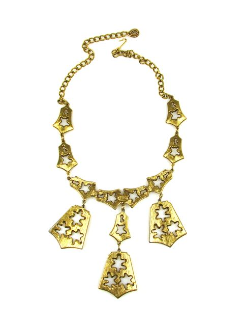 Goldette Three Pendent Bell Motif Necklace 1960s